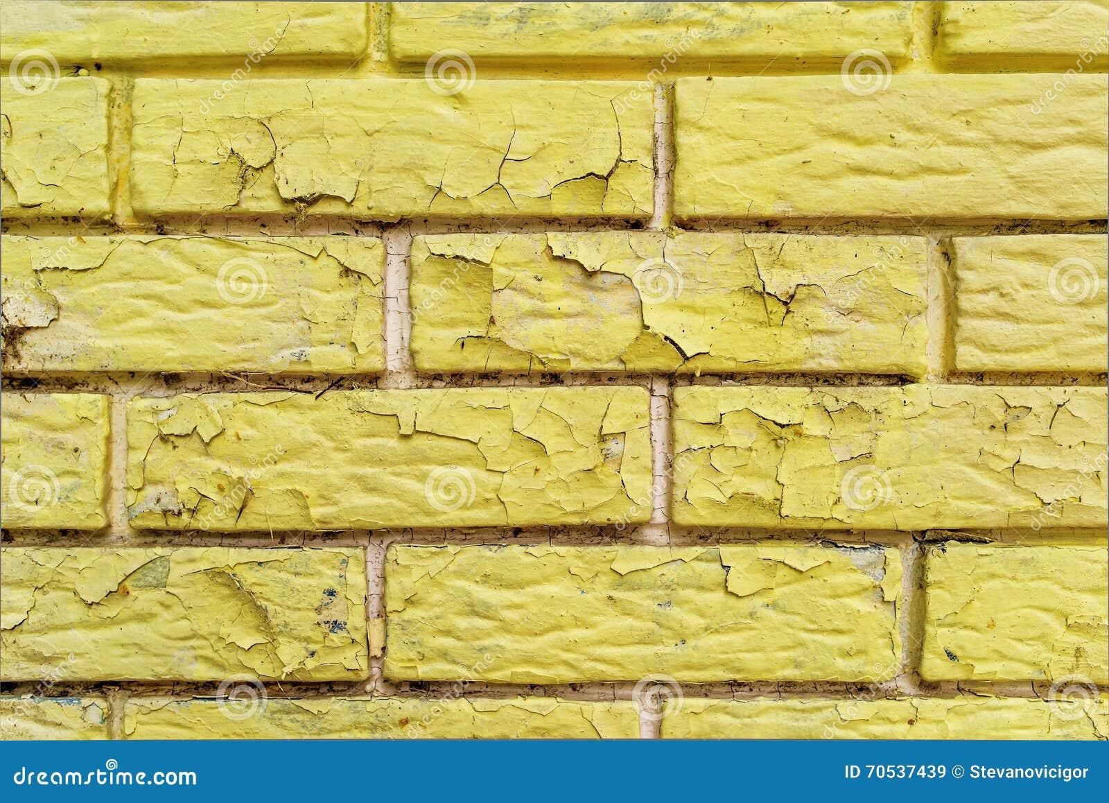 Yellow Paint Peeling Of Brick Wall Masonry Surface Stock Photography 70538318