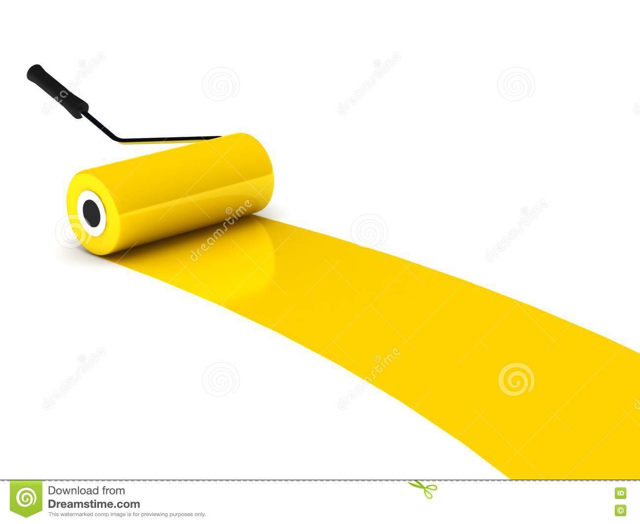 Yellow Paint Roller on Internal Bustion Engine