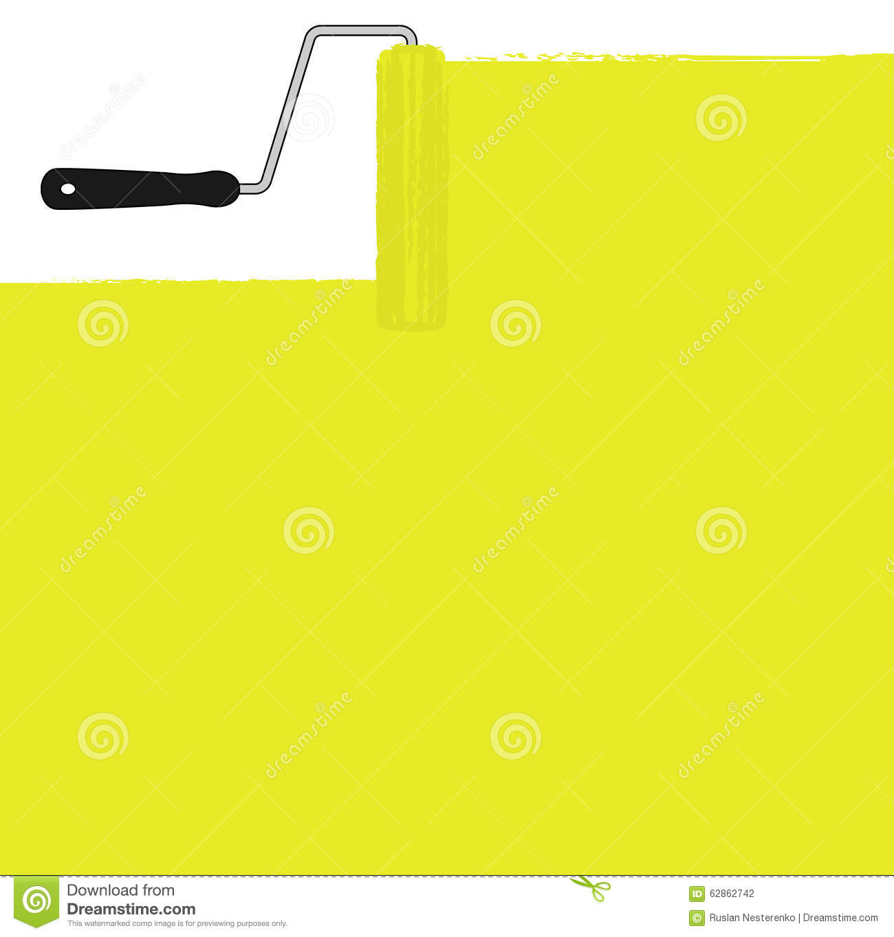Yellow Paint Roller Painting The Wall. Vector Stock Vector ...