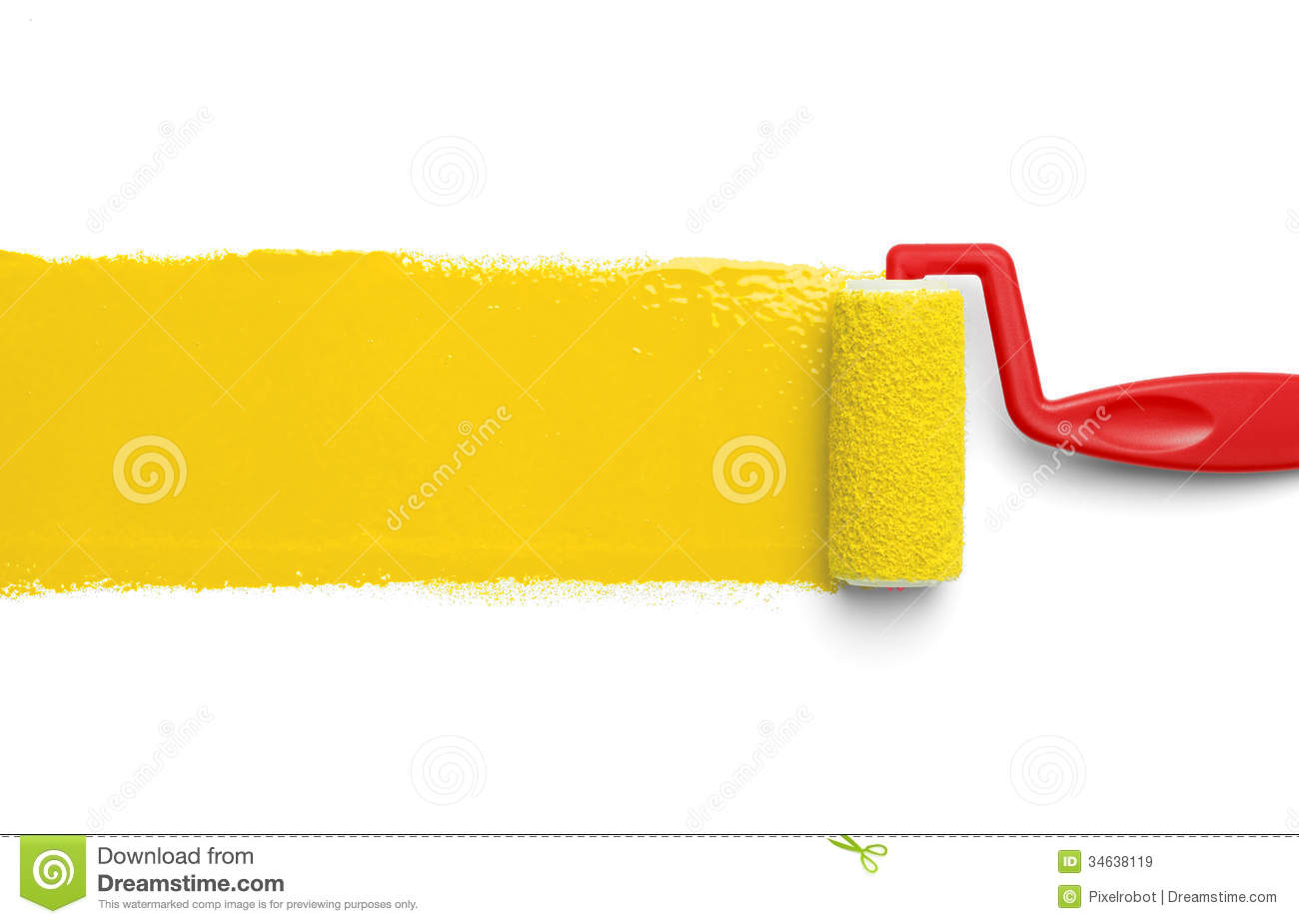 Yellow paint roller stock image image of level brightly for White paint going yellow