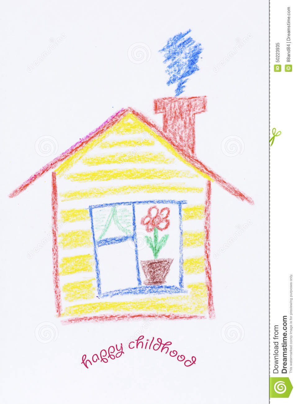 Kids House Drawing: Yellow Painted Children's House .Childlike Drawing Of