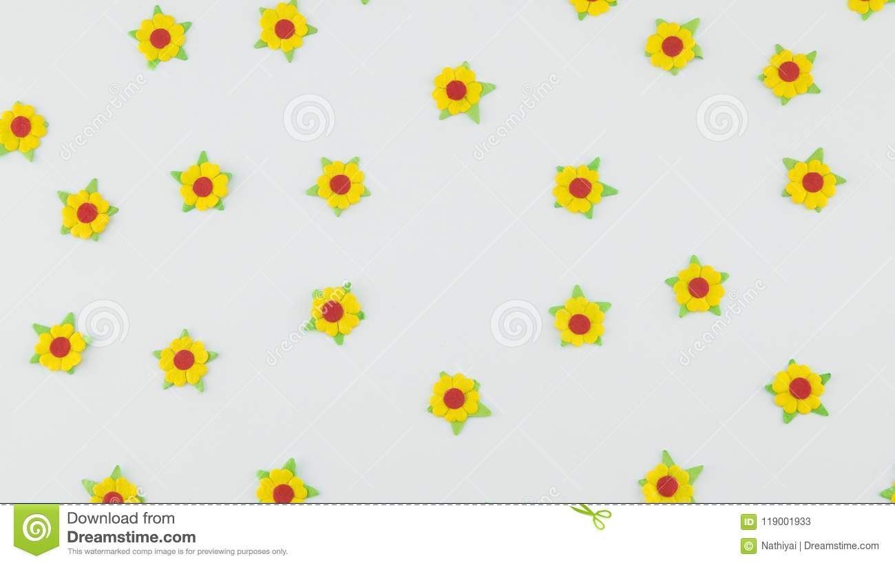 Yellow Paper Flowers Pattern On White Background Stock Image Image