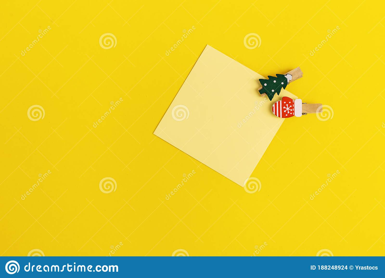 Yellow Paper Memo Note Decorated Christmas Tree Blank Sticky Square Reminder Stock Photo Image Of Write Memory 188248924