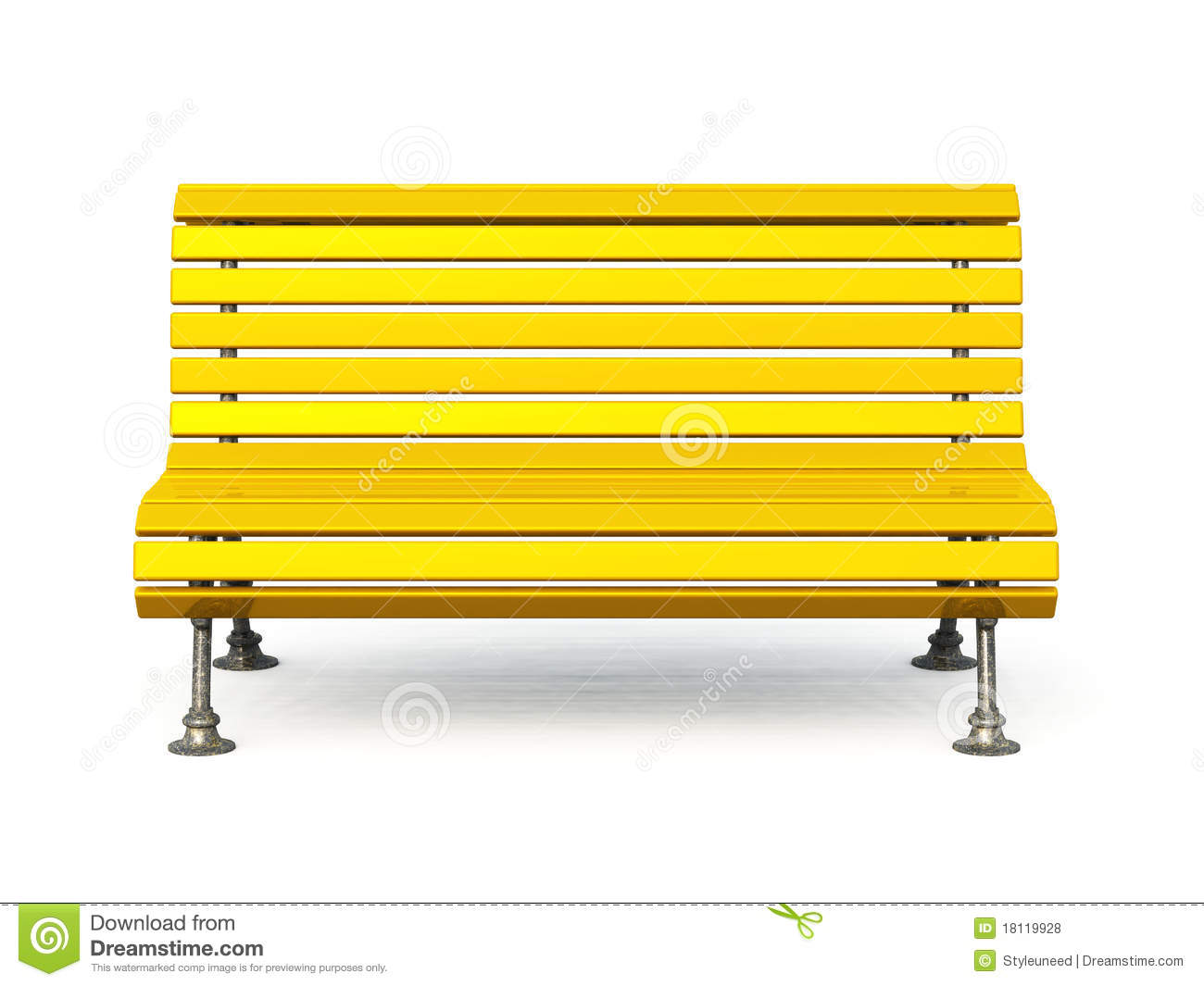 Yellow park bench stock illustration. Image of painted ...