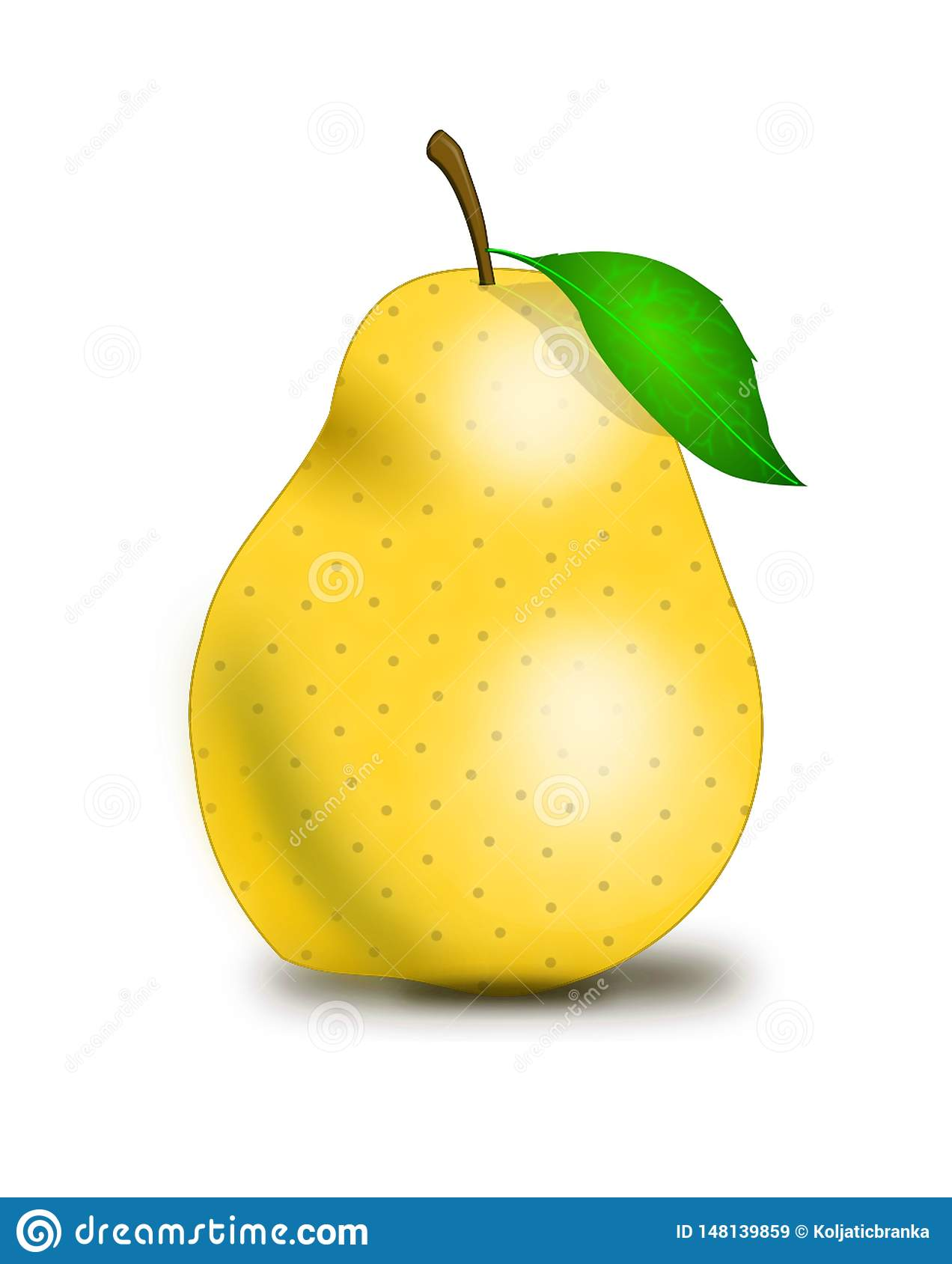 Yellow pear on a white background with a shadow.