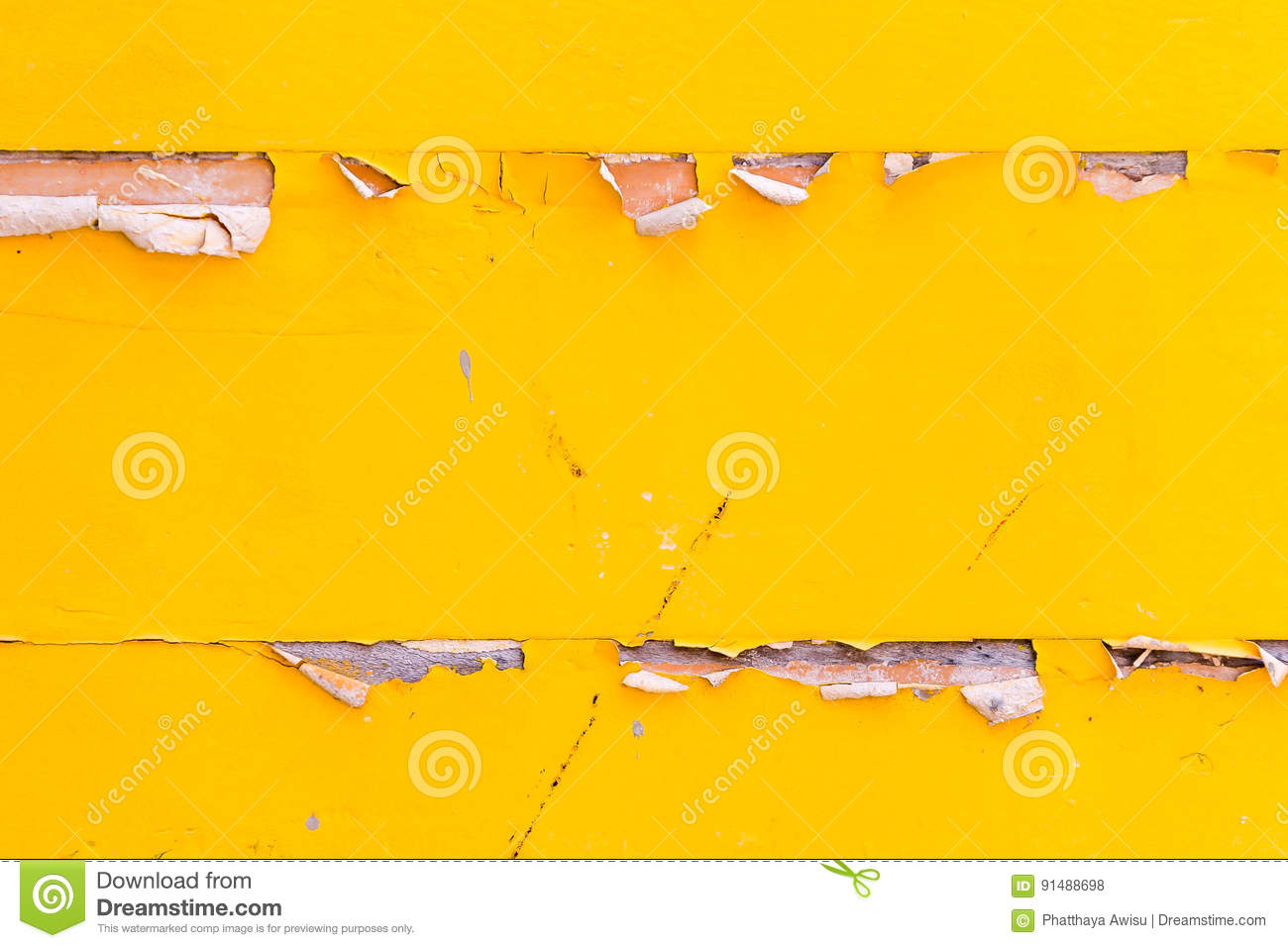 Yellow Peeling Painted On Wooden Wall Stock Photo - Image of color ...