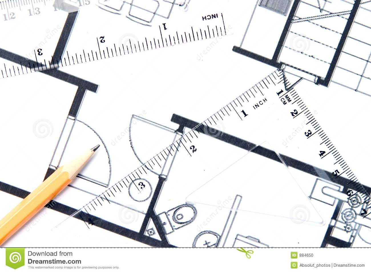 Yellow Pencil And A Floor Plan Stock Photo Image 884650