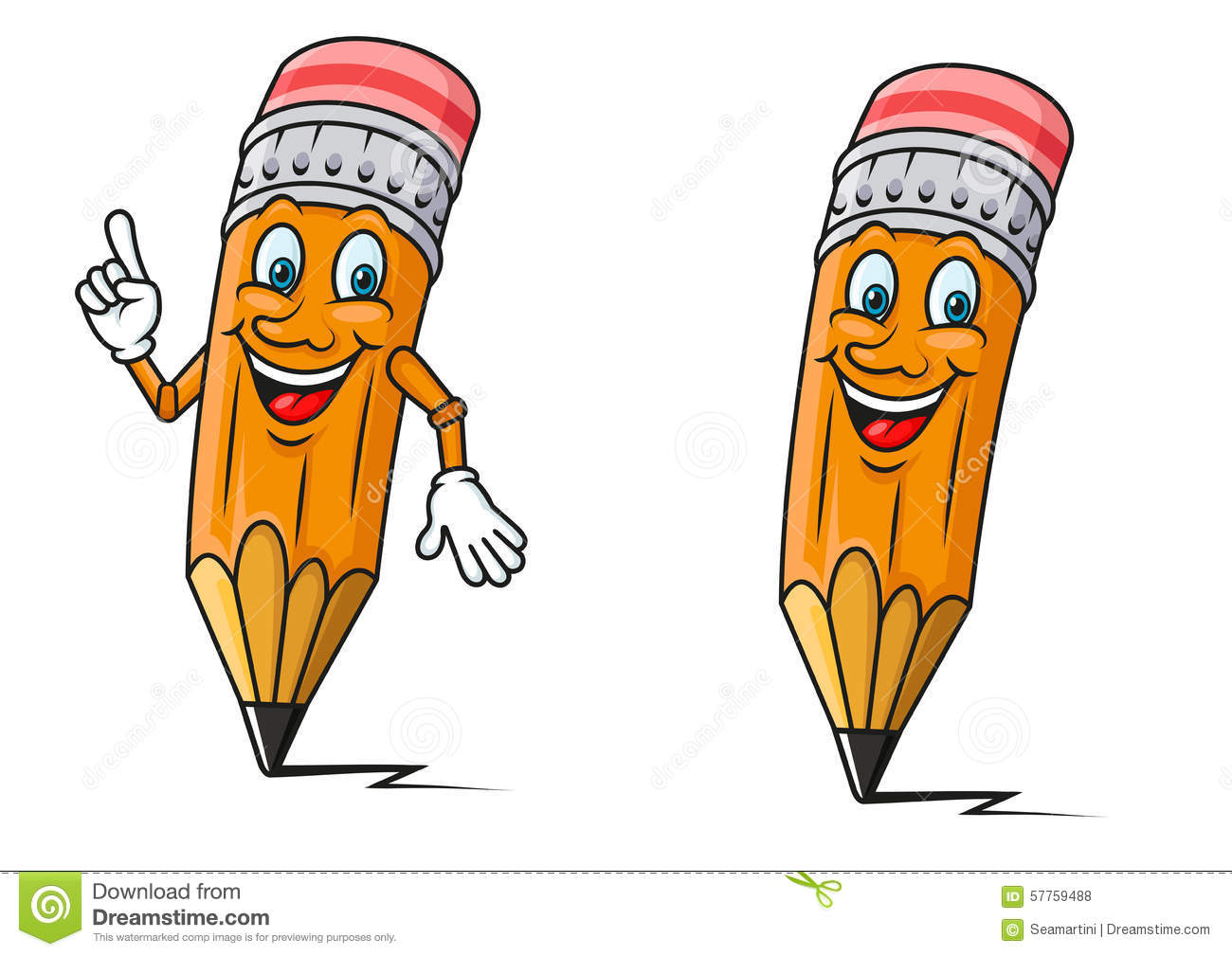 Smiling yellow pencils cartoon characters with red erasers and pointing gesture for education or back to school concept design