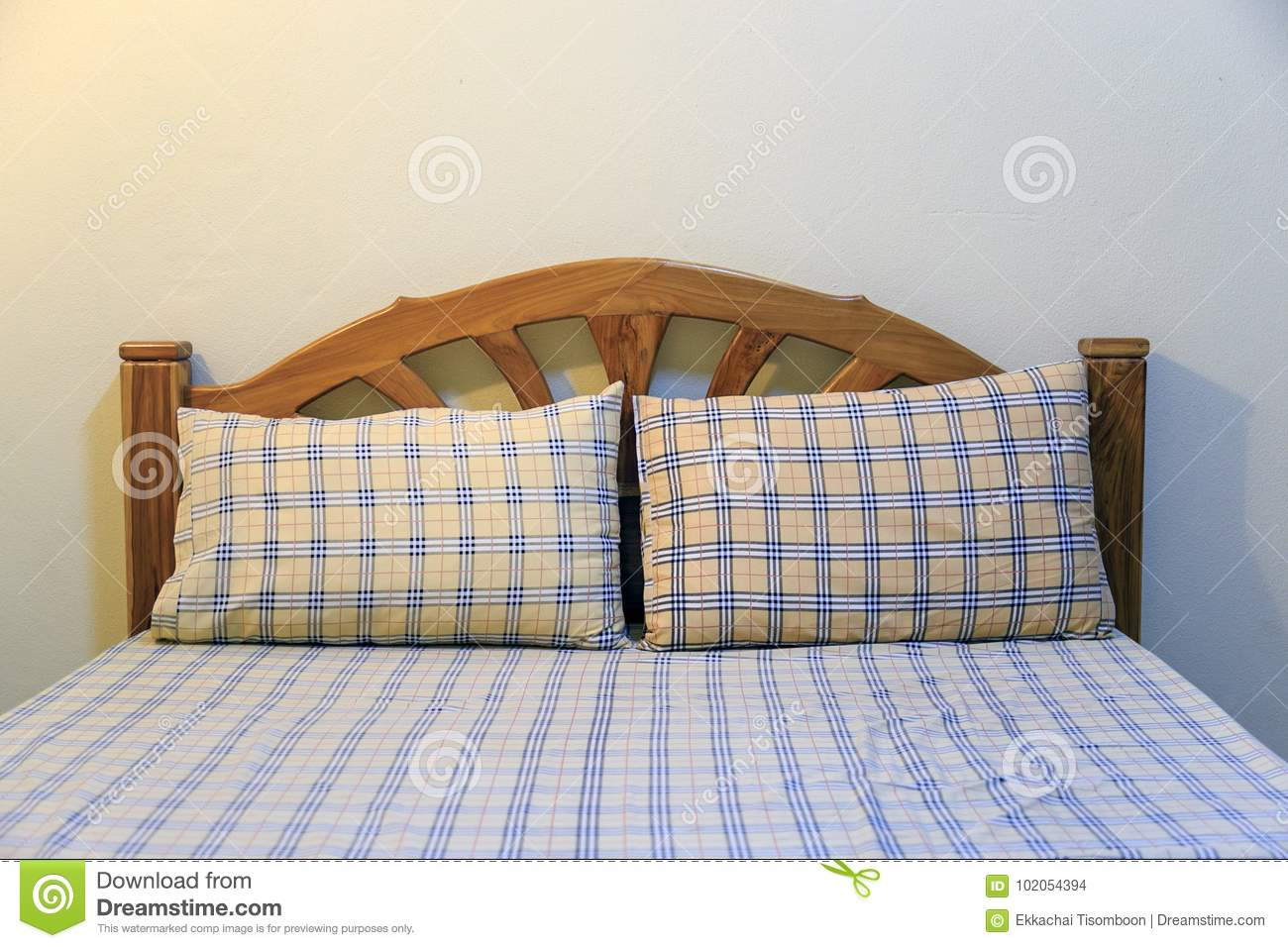 Yellow Pillow With Square Pattern On Mattress In Economy Class H Stock Photo Image Of Bedside Pillow 102054394