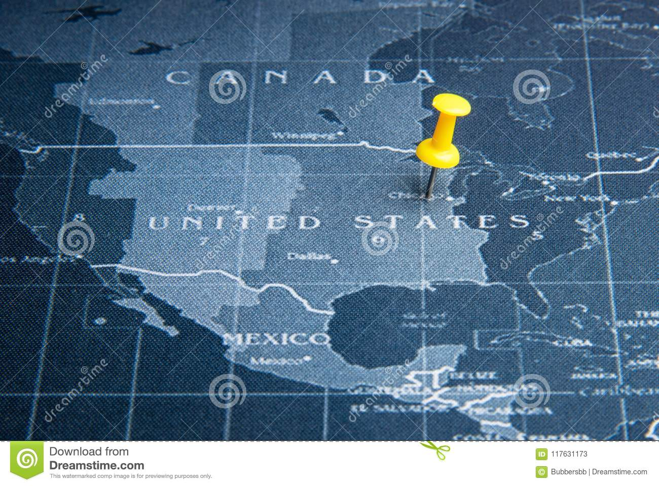 Yellow Pin On The World Map Pin To United States Of America ...