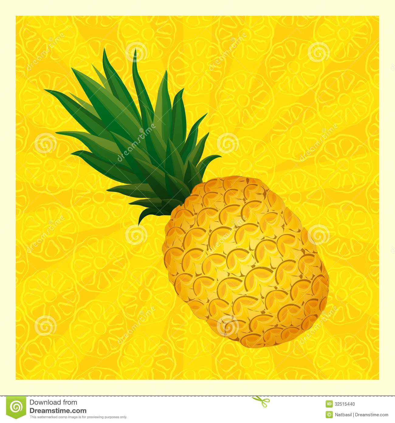 Yellow Pineapple Background Vector Illustration Stock