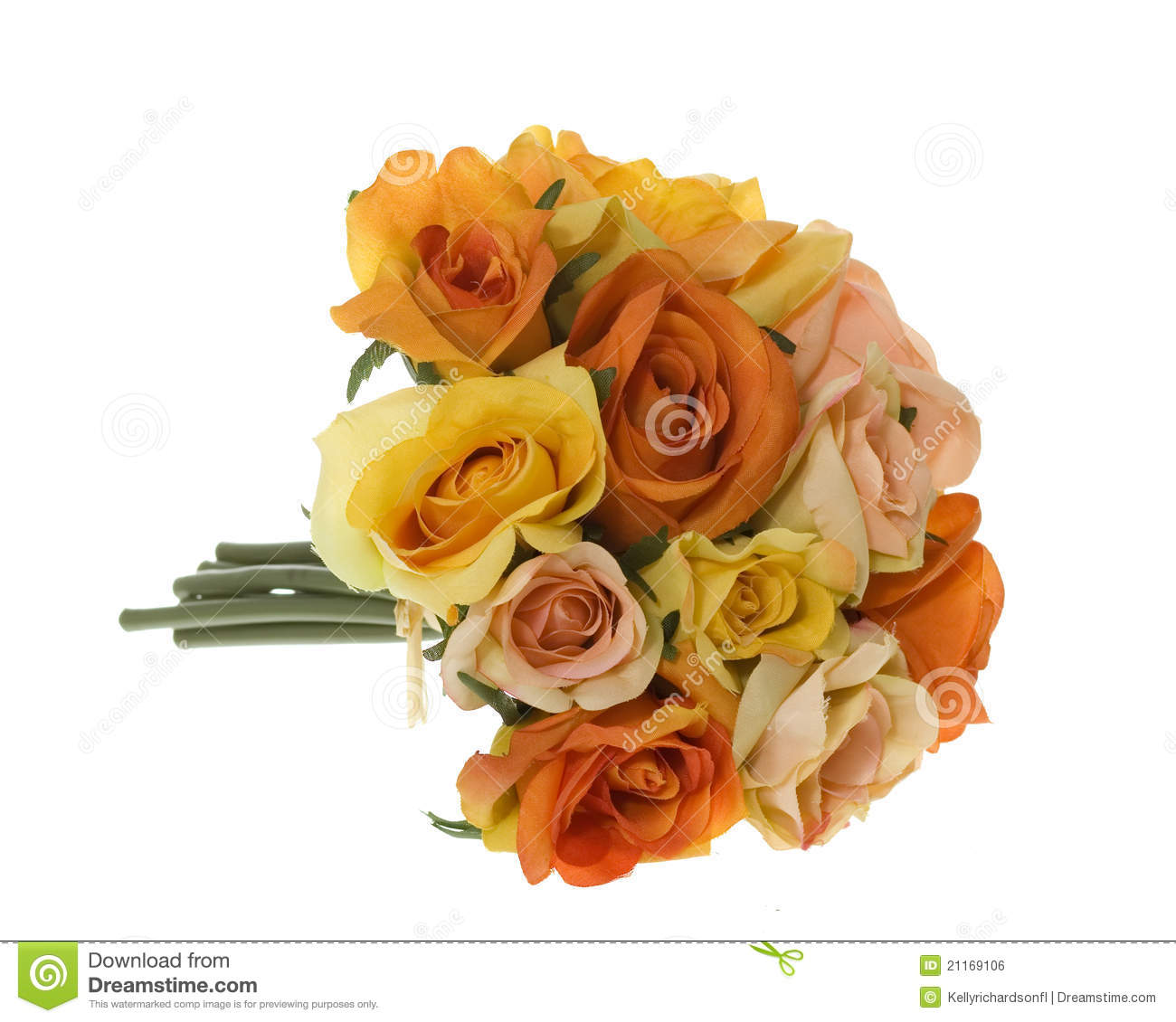 Yellow Pink And Orange Rose Bouquet Of Flowers Stock Photo Image