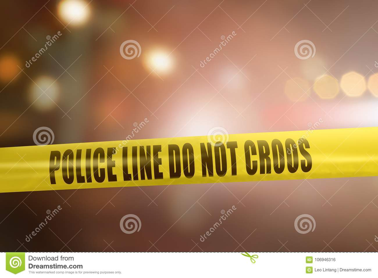 Yellow police line tape sign for protection crime scene