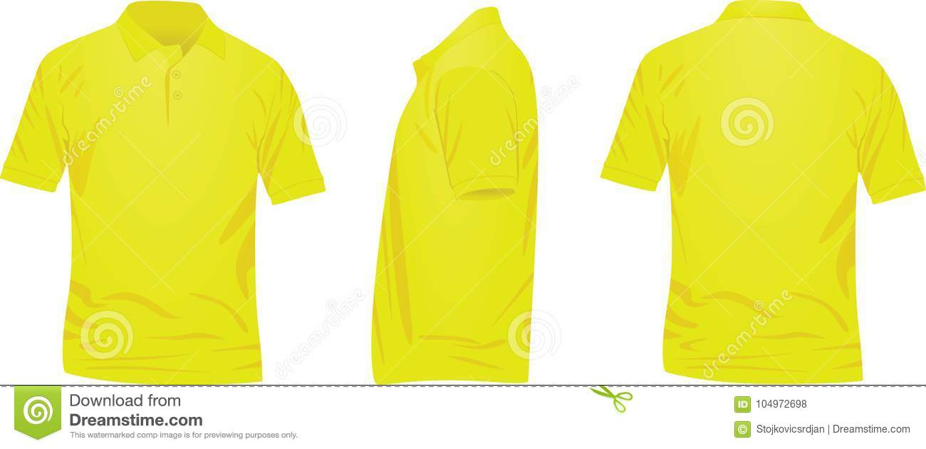 Yellow Polo T Shirt. Front, Back And Side View Stock Vector ...