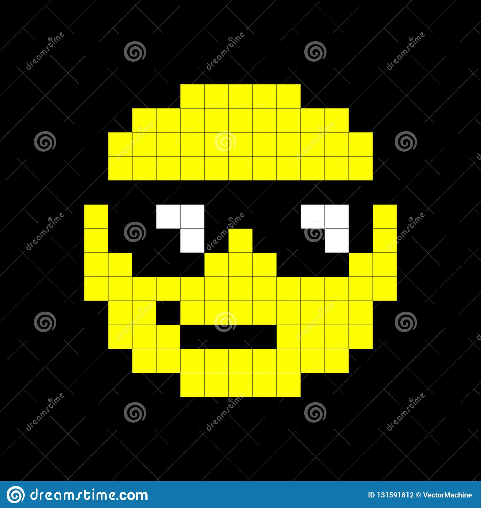 Yellow Popular Cartoon Face Pixel Art Background Stock