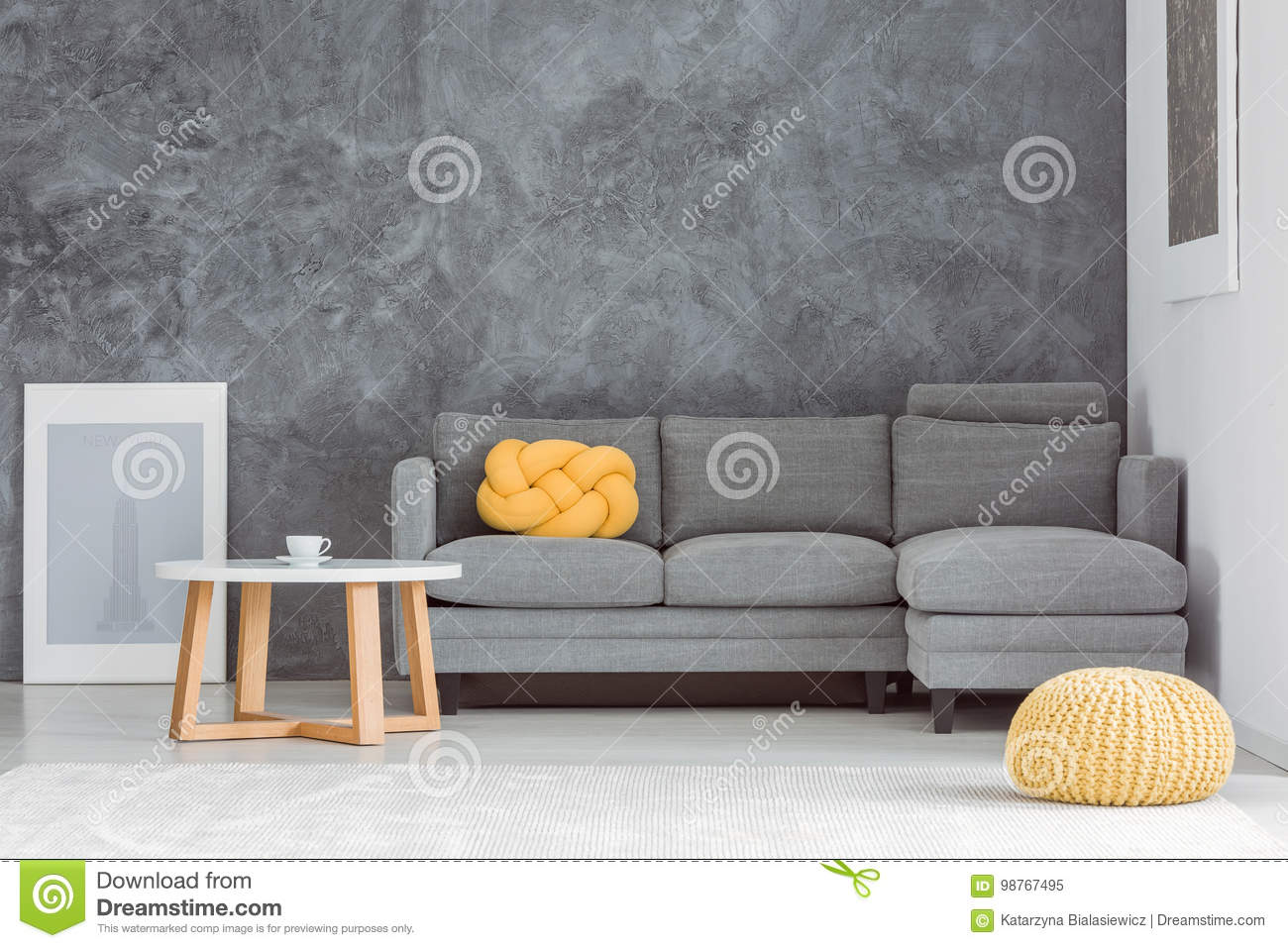 Yellow pouf in living room stock image. Image of flat - 98767495
