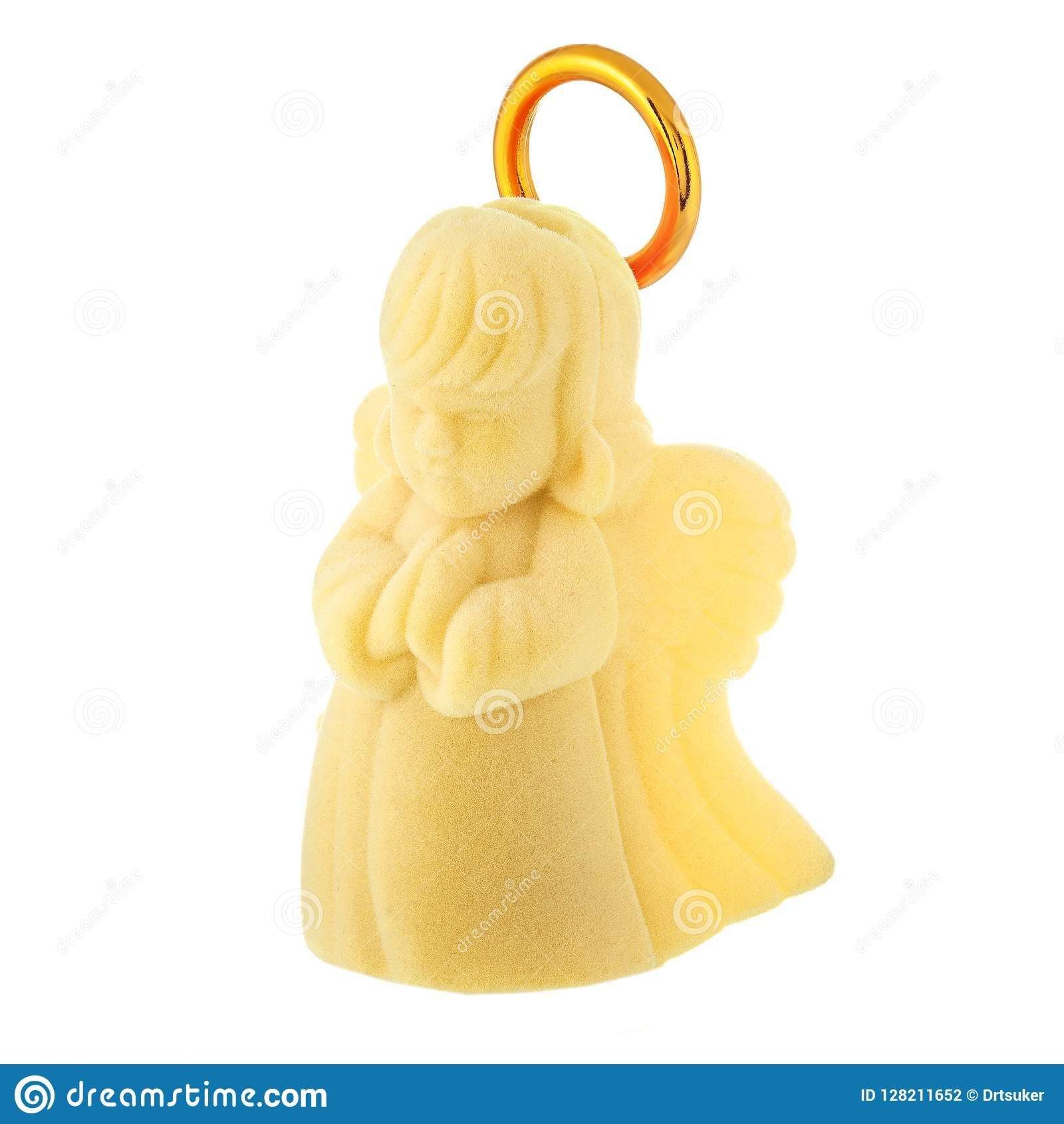 Yellow prayer baby angel with golden halo