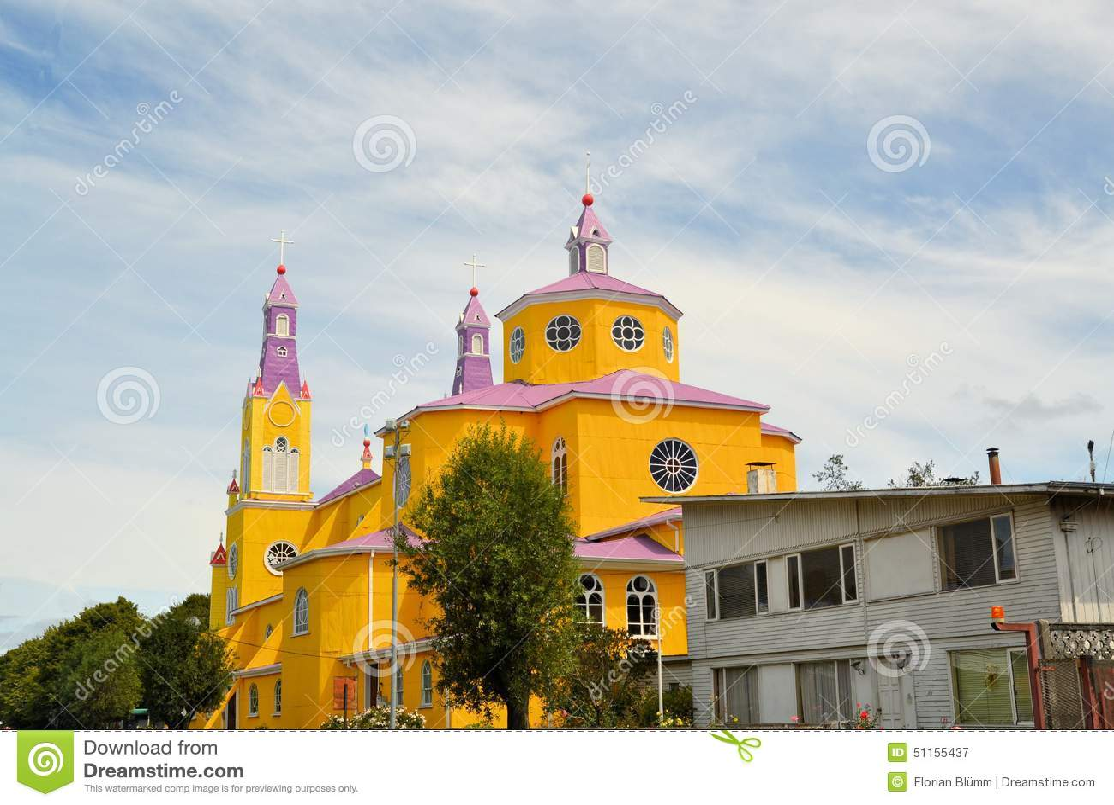 Yellow And Purple Church Of Castro, Chiloe, Chile Stock Photo ...