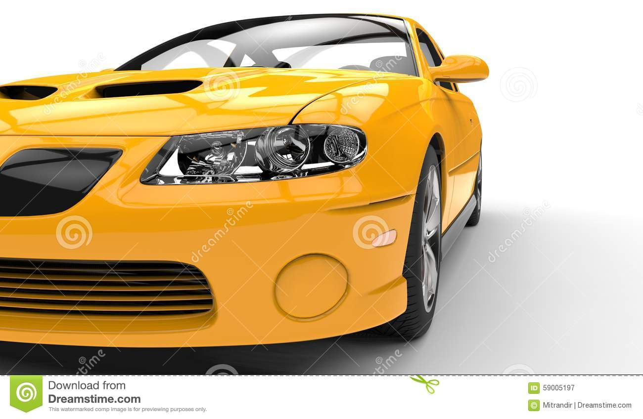 Yellow Race Car Headlights Closeup Stock Illustration Image