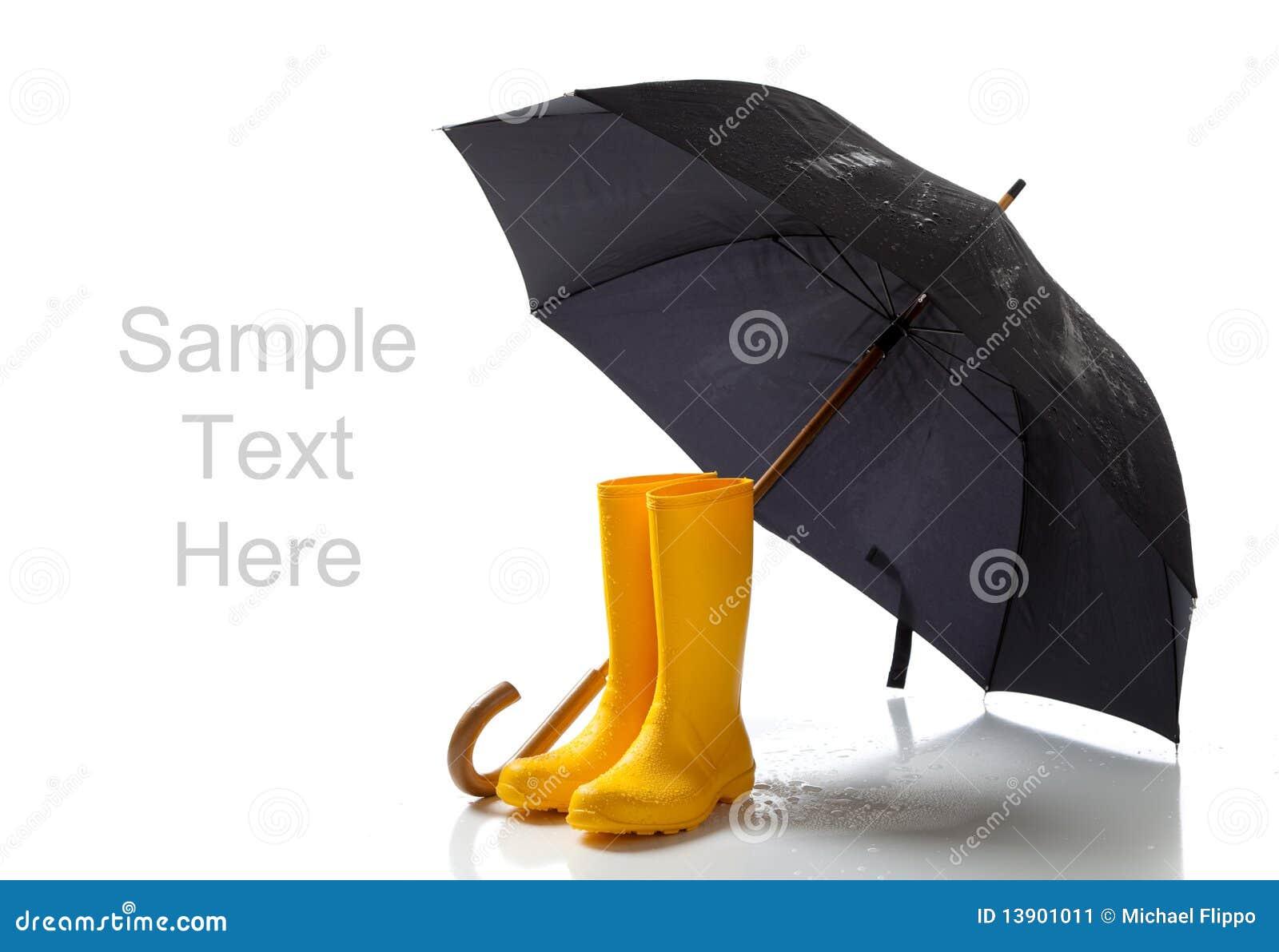 Yellow Rainboots And Black Umbrella On White Stock Image - Image ...