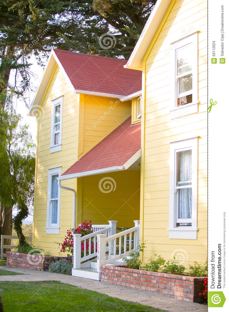 Yellow Ranch House And White Hand Rail Stock Photo Image