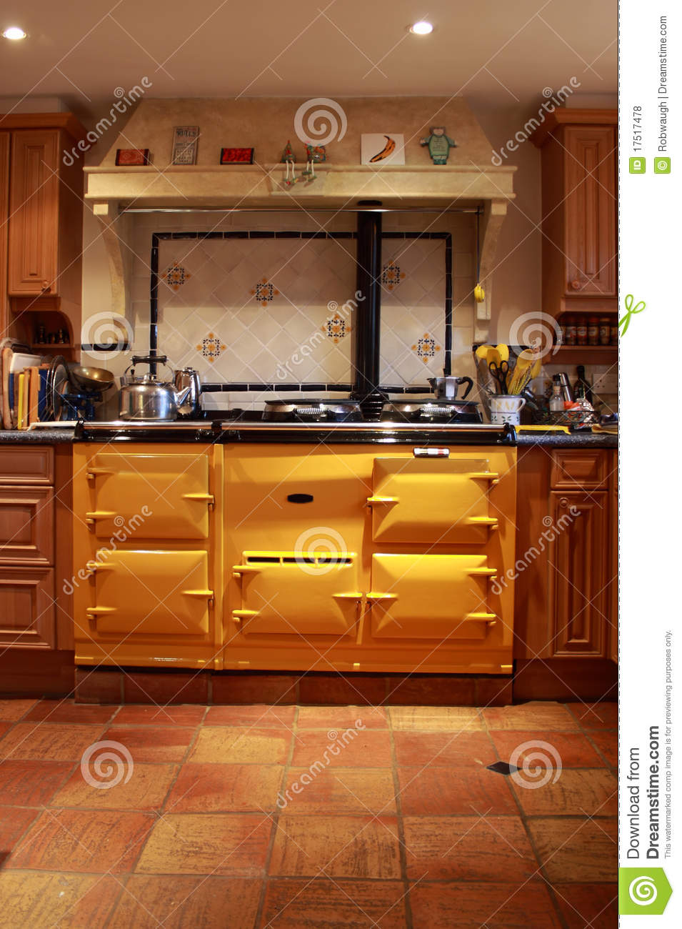 Yellow Range Oven In A Lovely Kitchen Stock Photo Image