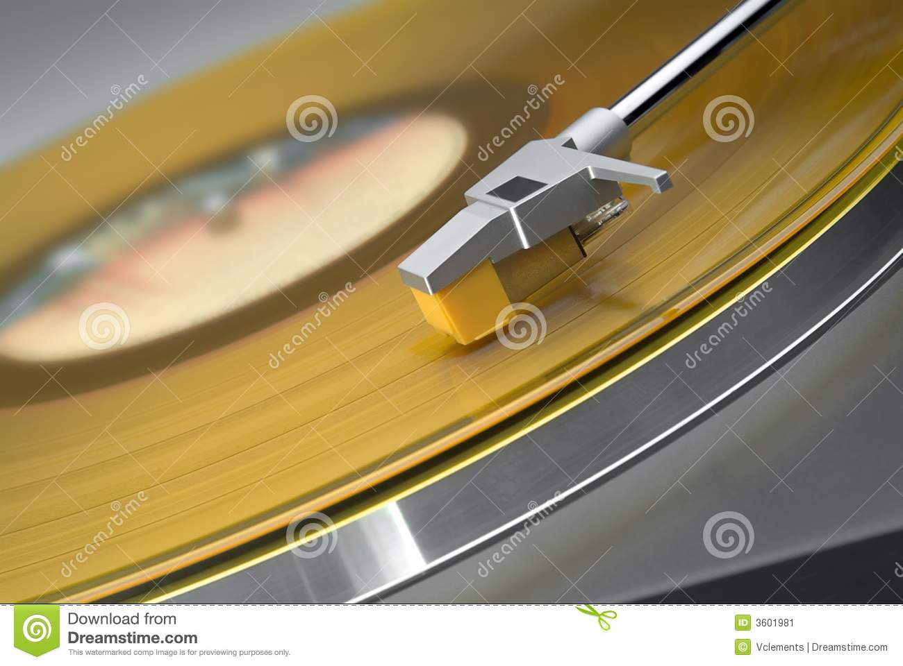 Yellow record on turntable
