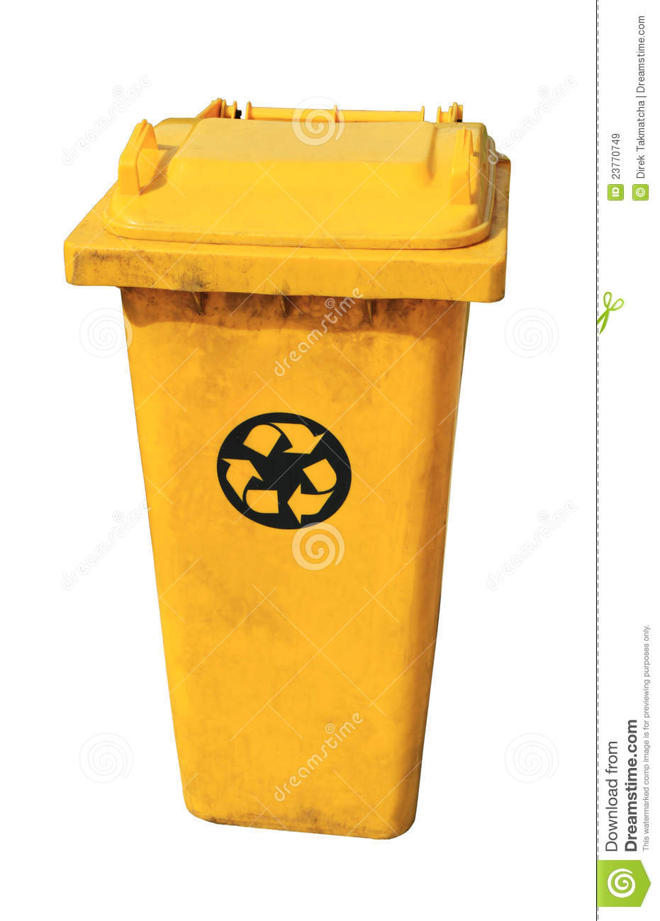 Yellow Recycle Bin Royalty Free Stock Images - Image: 23770749
