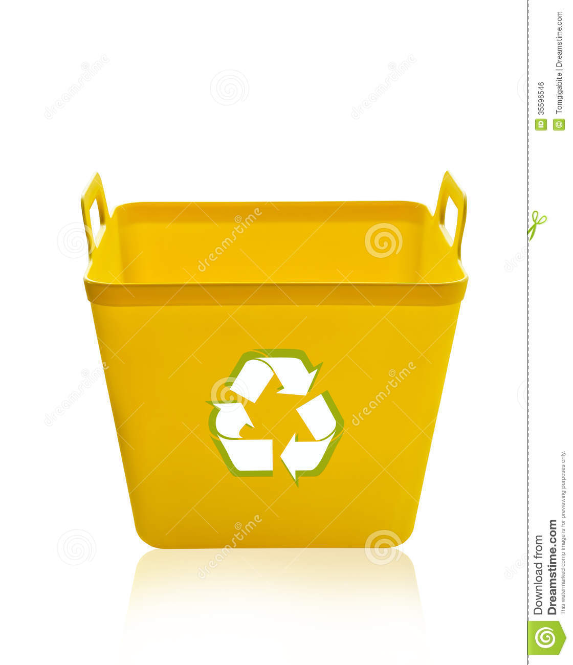Yellow Recycling Bin Stock Photo Image Of Garbage