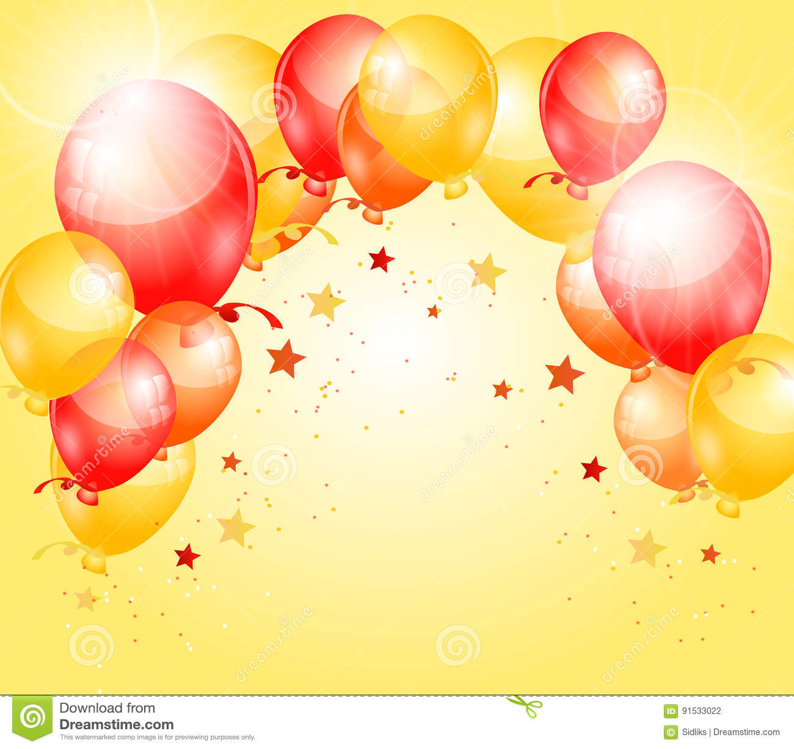 Yellow Red Birthday Background Stock Illustration