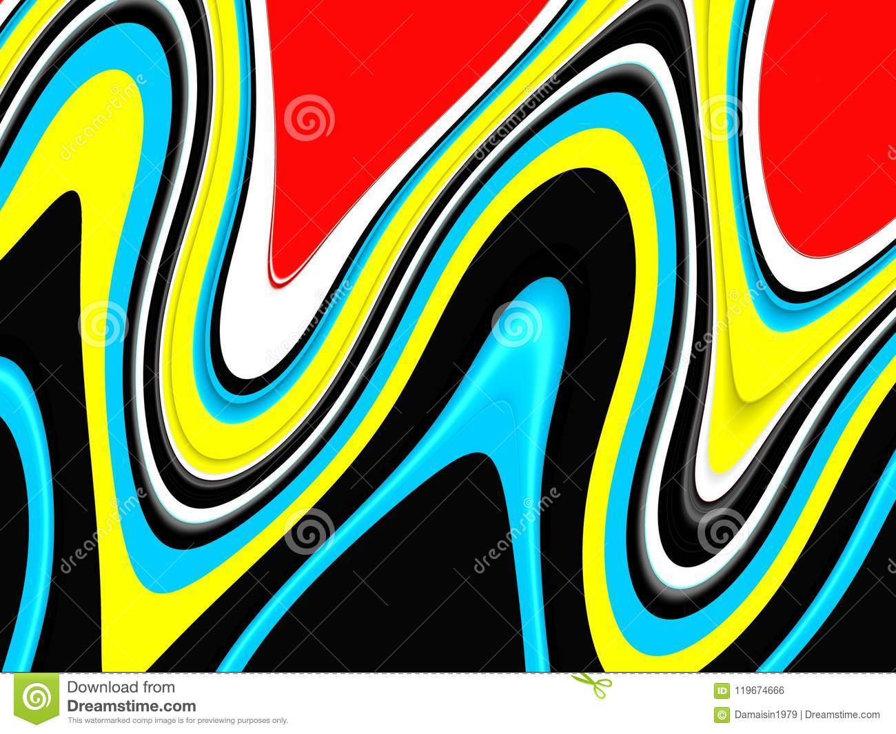 Playful Black Red Yellow Waves Background Waves Like Shapes
