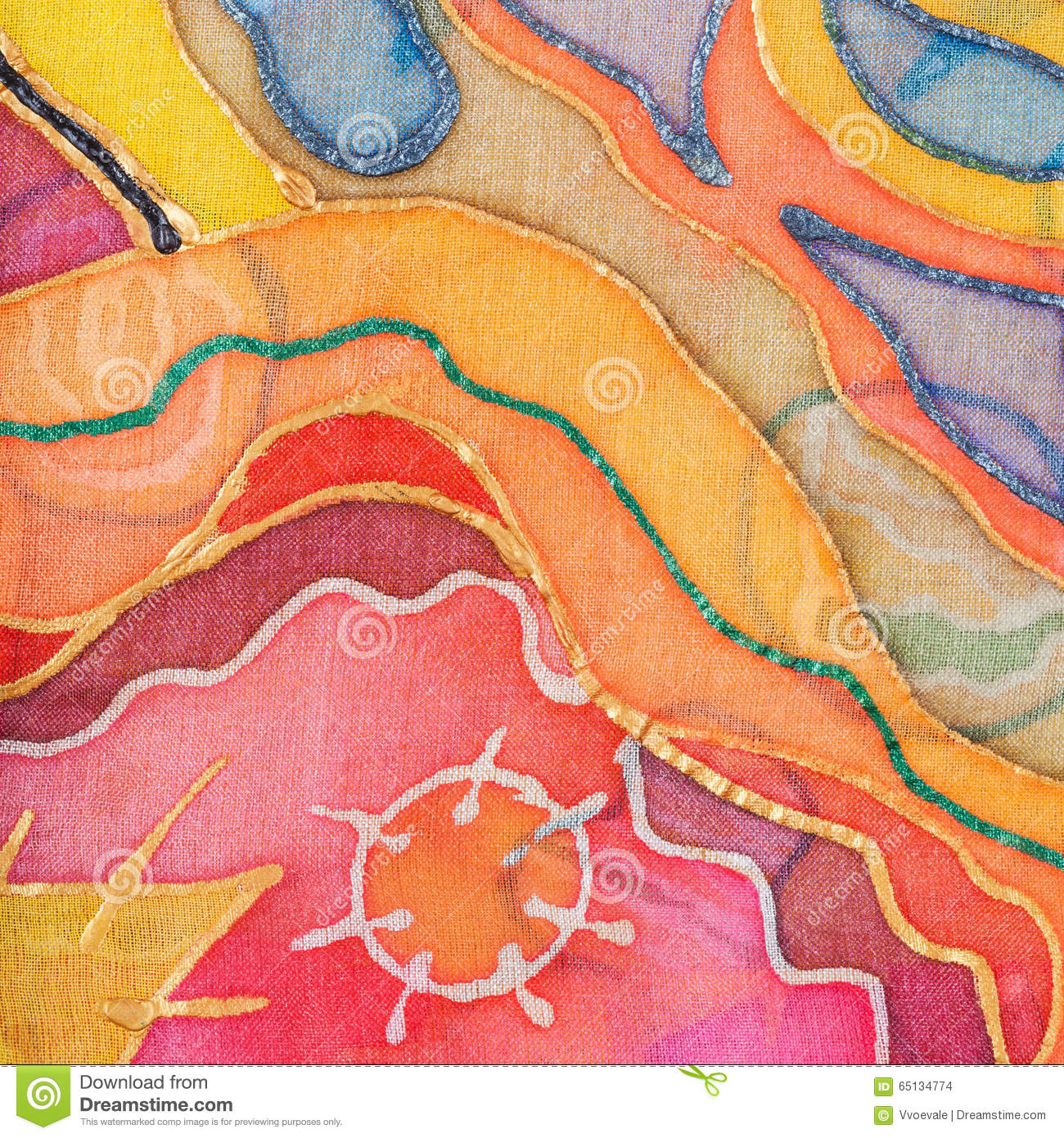 Yellow, Red, Blue Abstract Pattern On Silk Batik Stock
