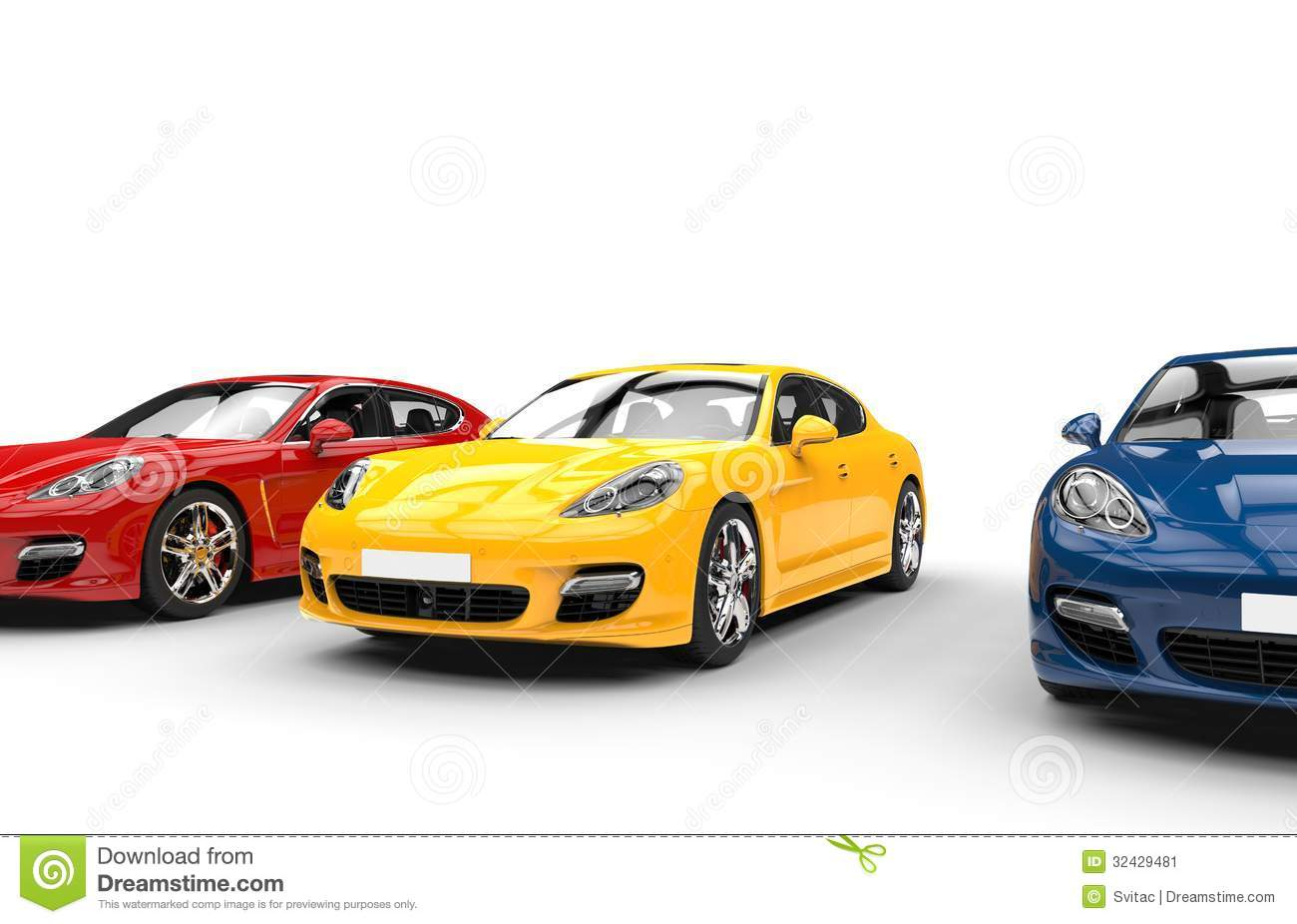 yellow red and blue fast cars stock image image 32429481. Black Bedroom Furniture Sets. Home Design Ideas