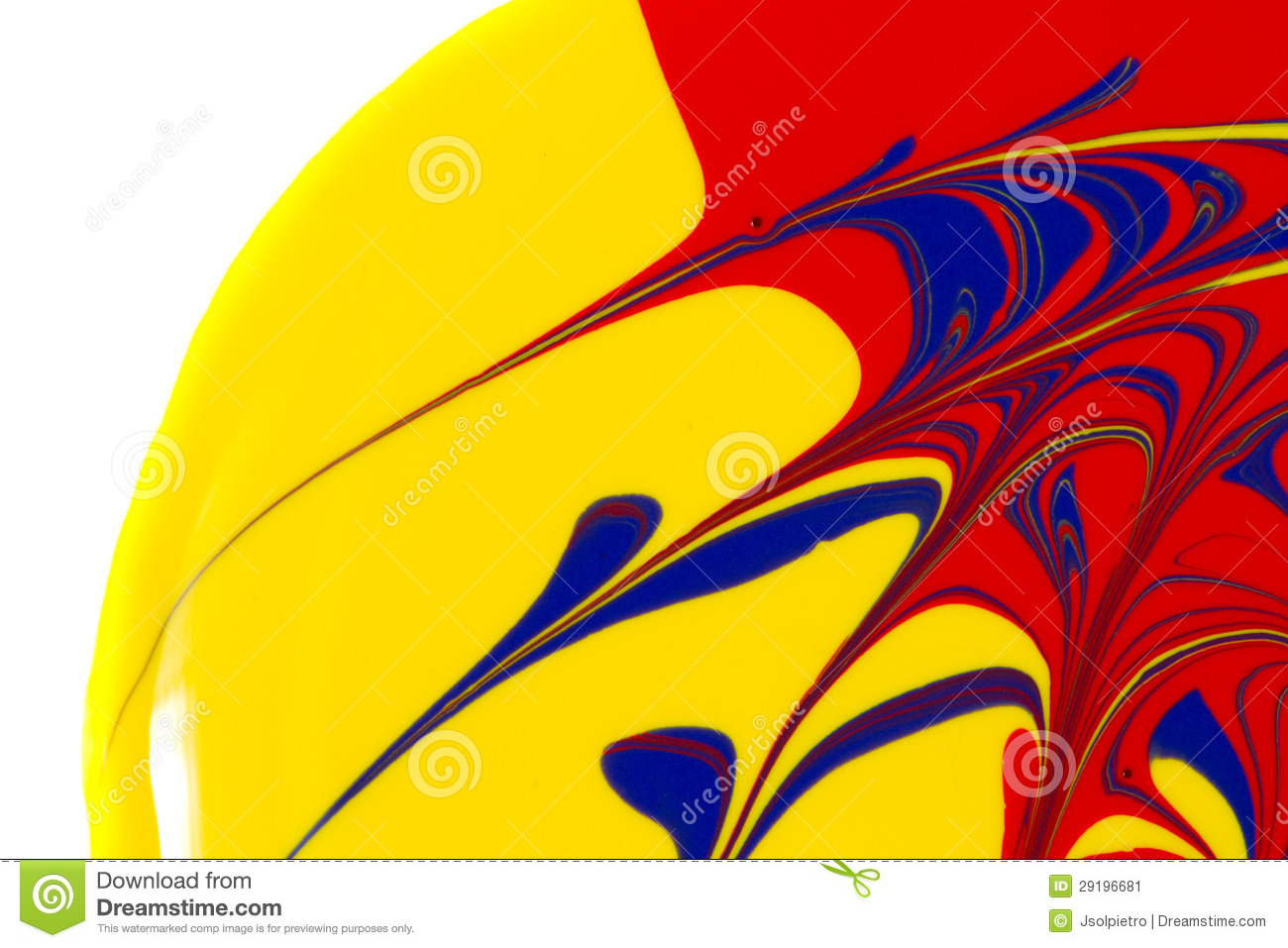 yellow red and blue paint swirls on a white back stock image image 29196681. Black Bedroom Furniture Sets. Home Design Ideas