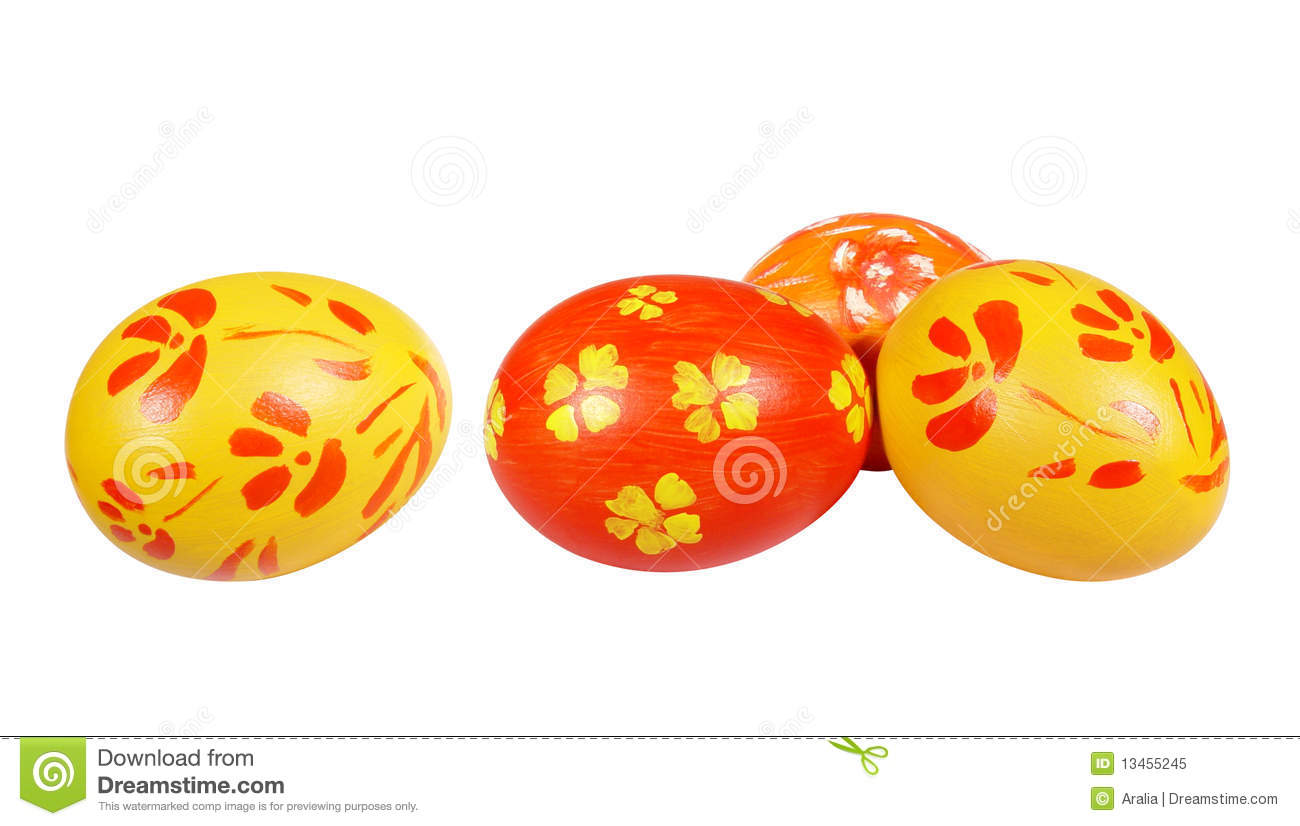 Yellow and red Easter eggs