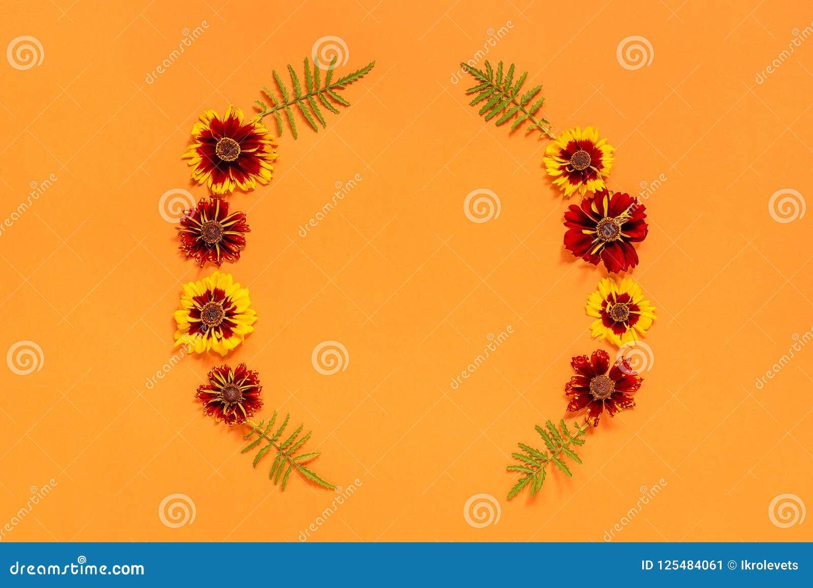 Yellow red flower frame on orange background
