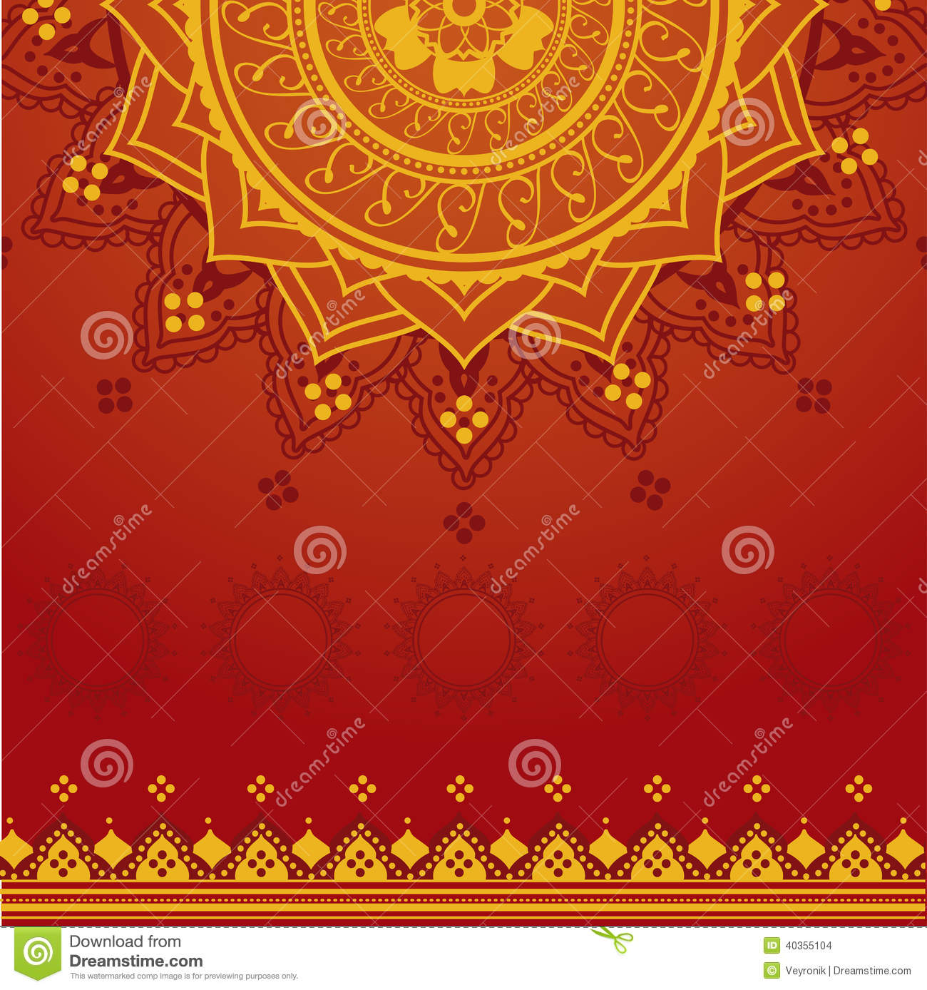 Yellow And Red Indian Background Stock Vector Image