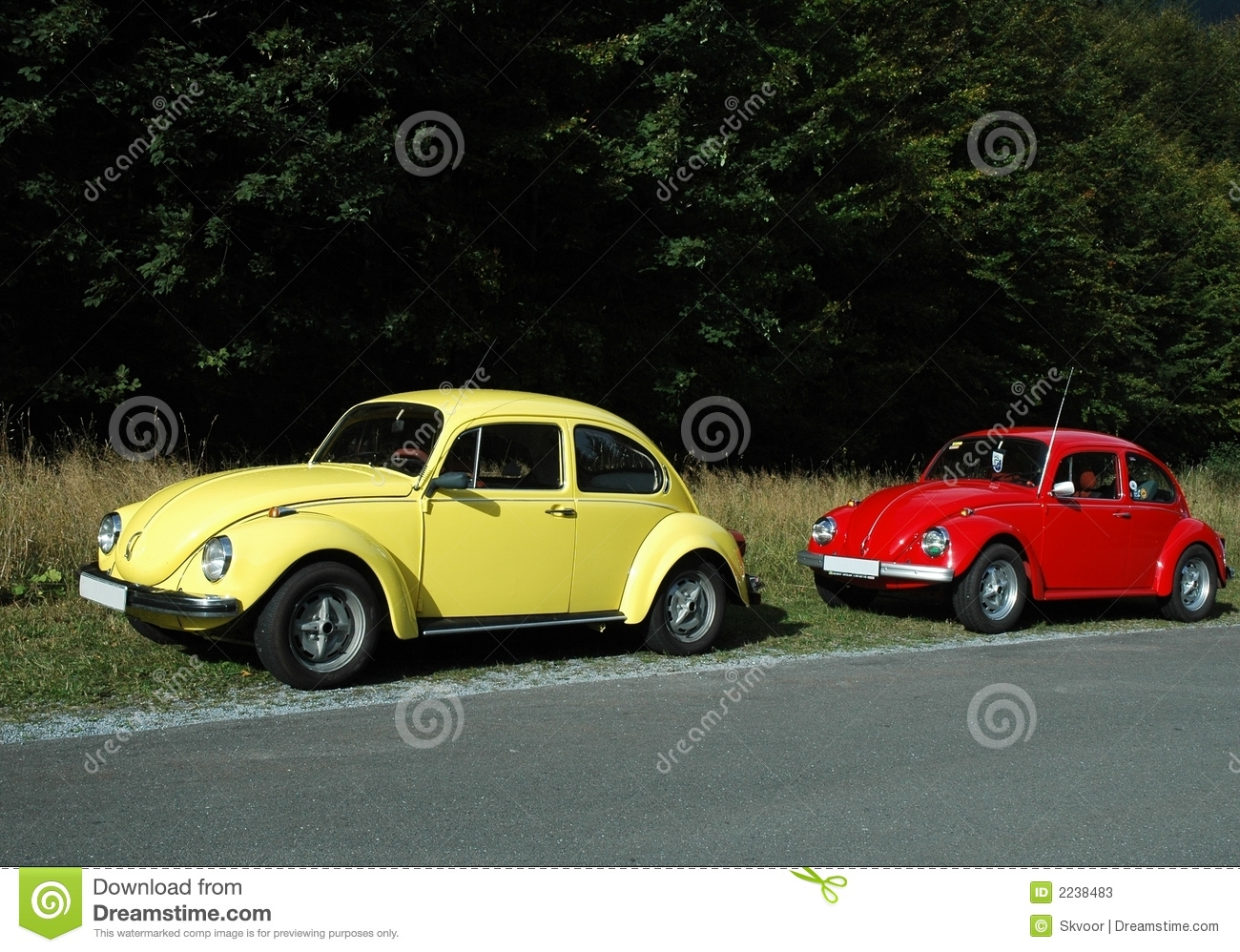 Yellow And Red Vw Beetles Stock Photos - Image: 2238483