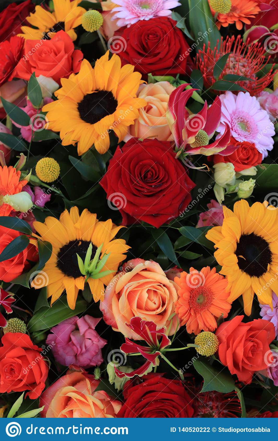 Yellow And Red Wedding Flowers Stock Photo Image Of Pink Helianthus 140520222