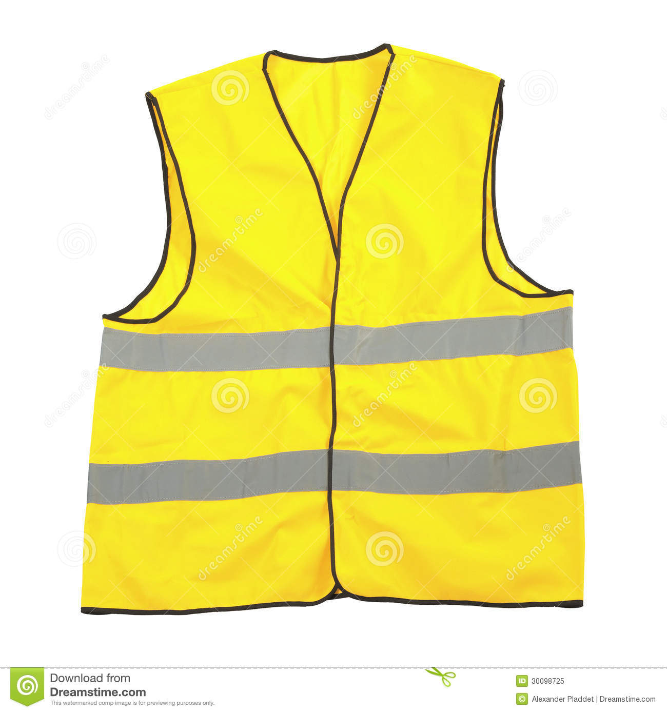 Yellow reflective safety jacket - or vest - isolated on a white ...