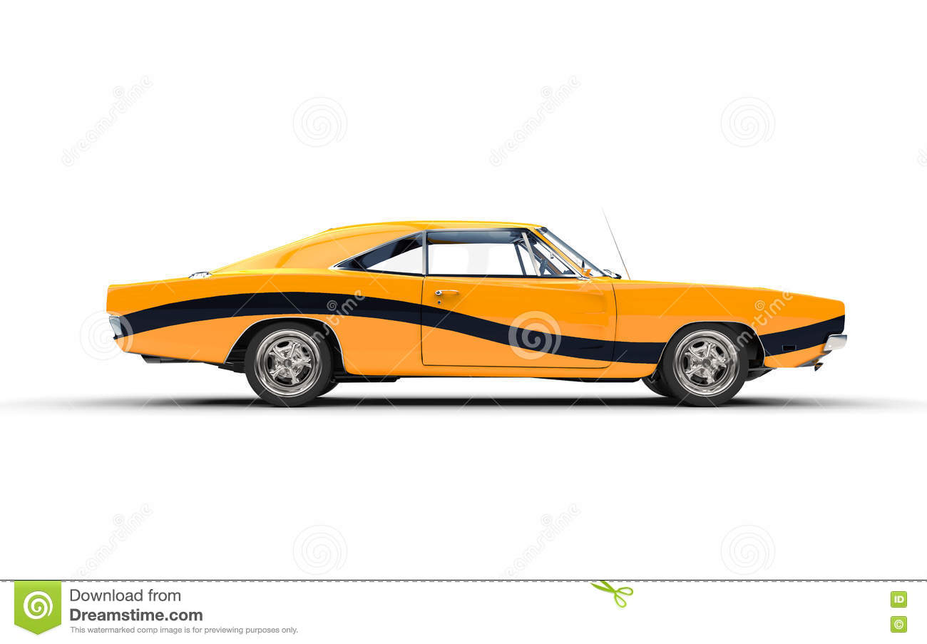 Yellow Retro Muscle Car With Black Stripe Stock Illustration