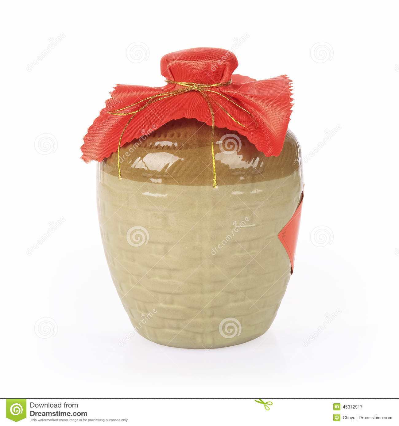 Yellow Rice Wine Jar On A White Background Stock Photo