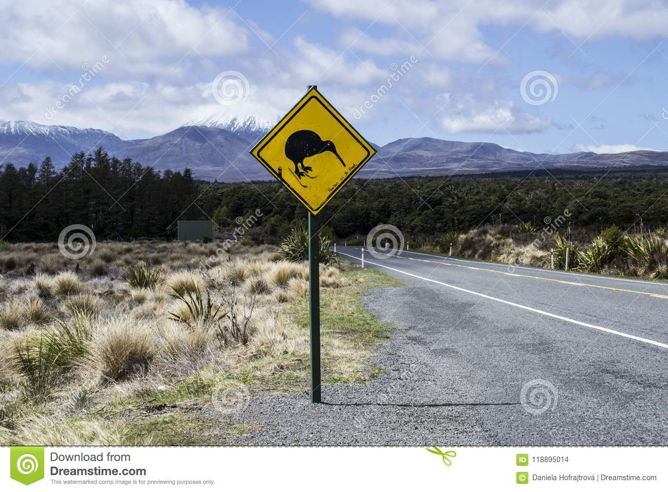 Yellow road sign with kiwi bird crossing by the road. Mountains in the background. Located in the Tongariro National Park, North
