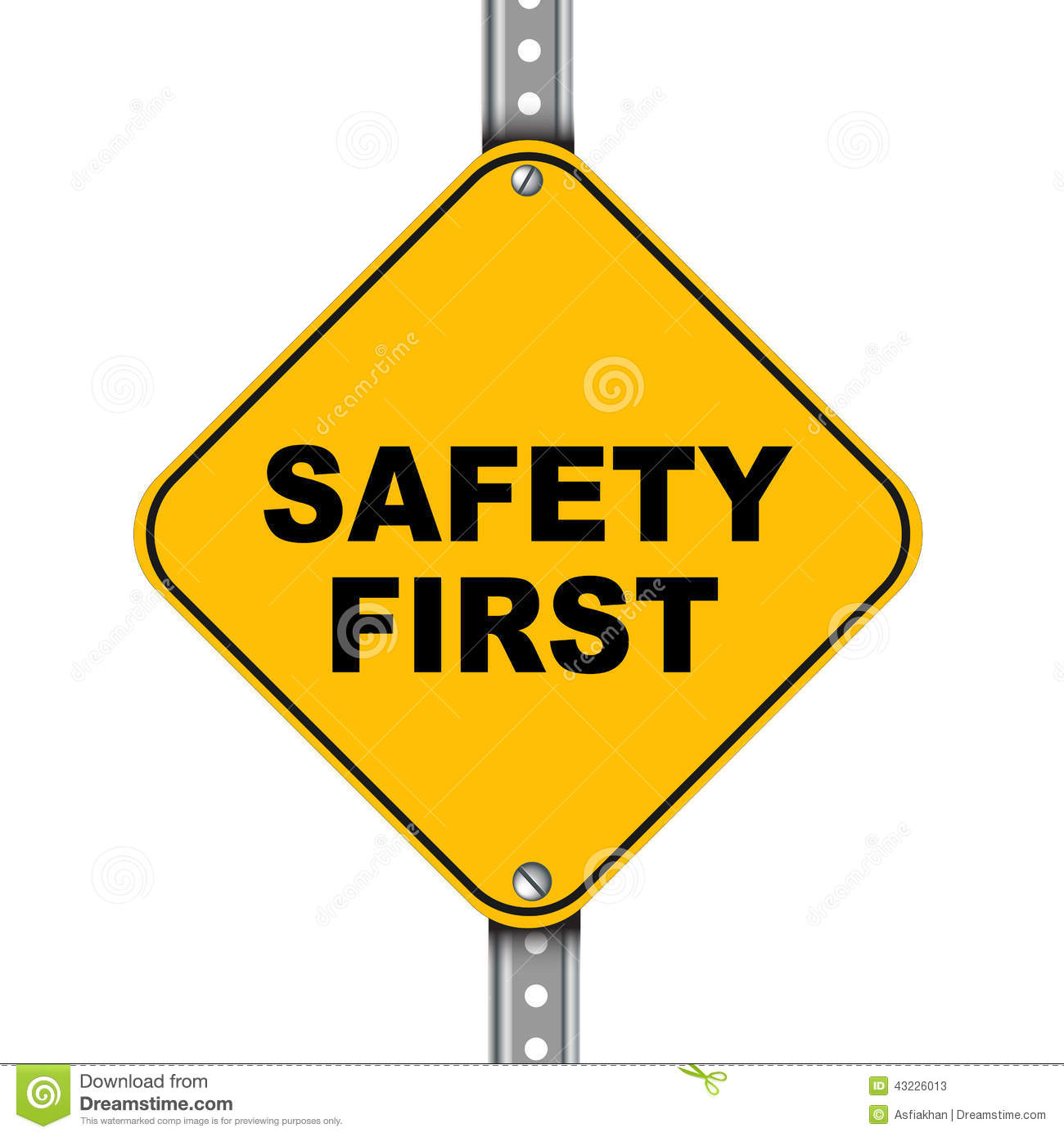 Yellow Road Sign Of Safety First Stock Illustration Illustration