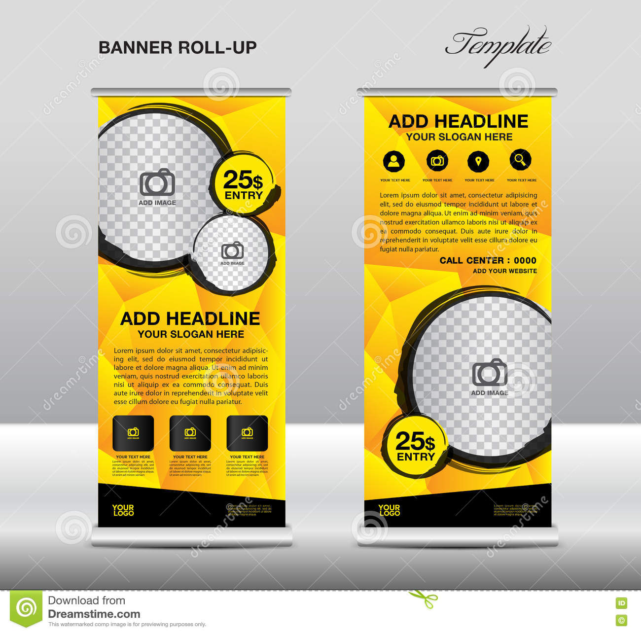 Yellow Roll Up Banner Template Vector Roll Up Stand Banner