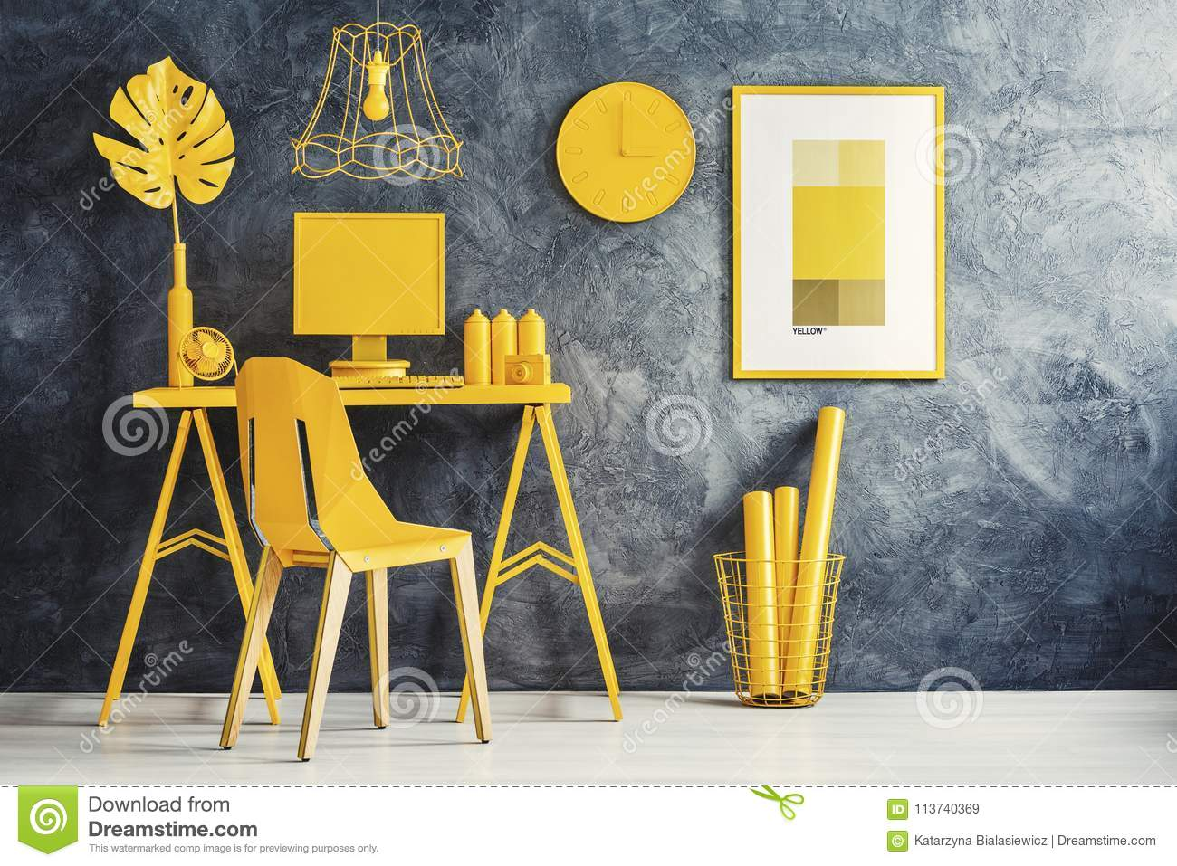 Yellow Room Concept With Workspace Stock Image - Image of computer ...