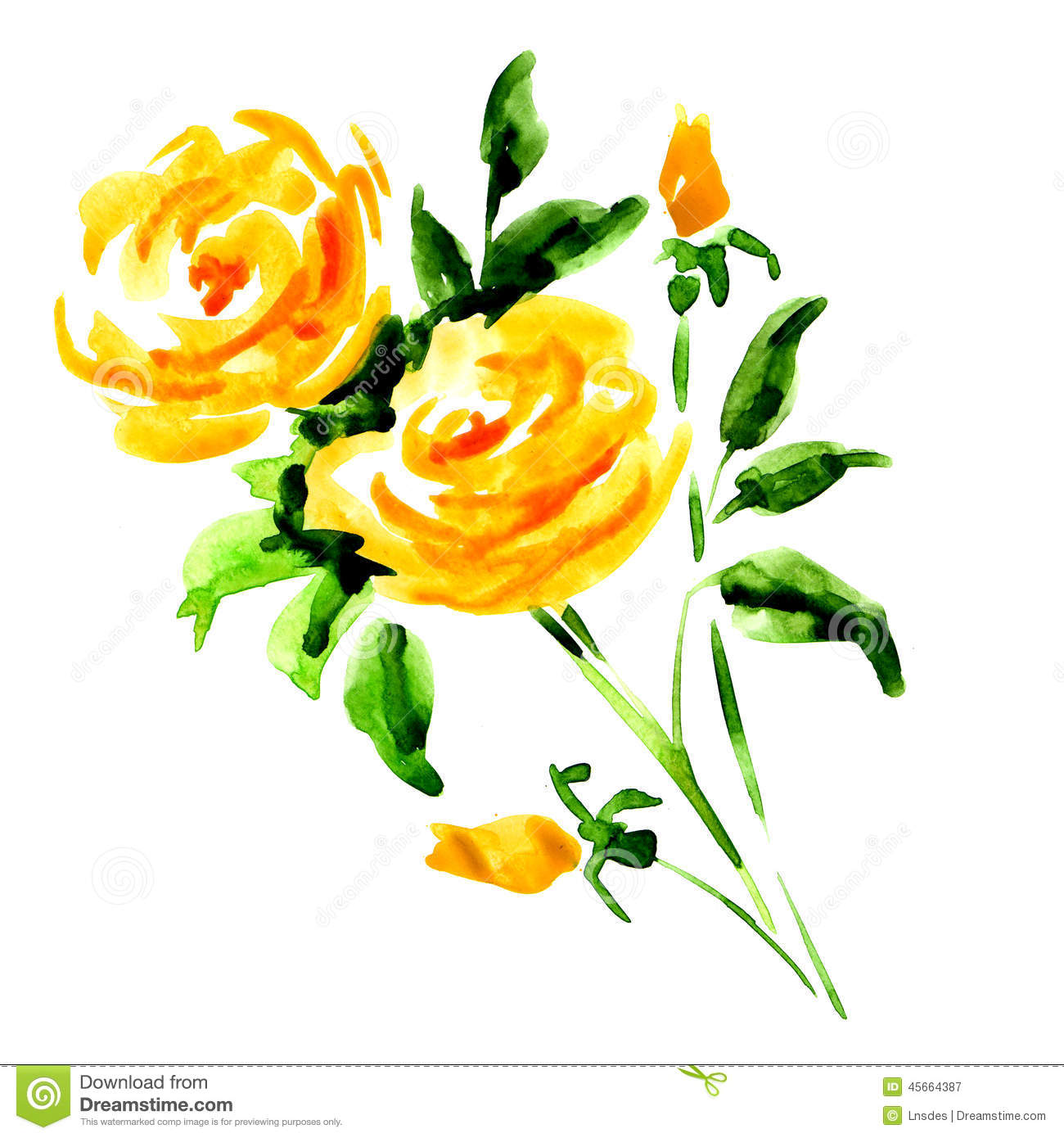 Yellow rose bouquet isolated, watercolor painting on white background.