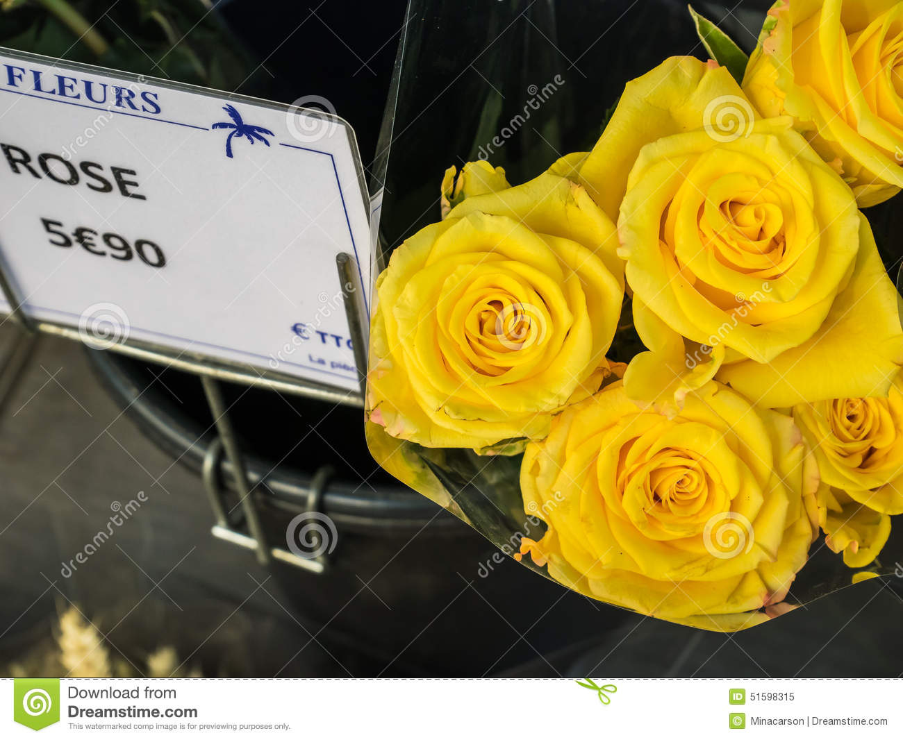 Yellow Roses With French Price Tag In Paris France Stock Image