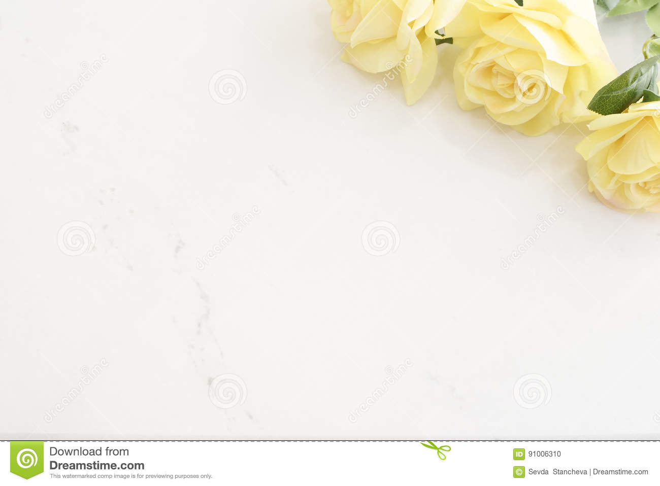 Yellow Roses Over Marble Background Border Of Yellow