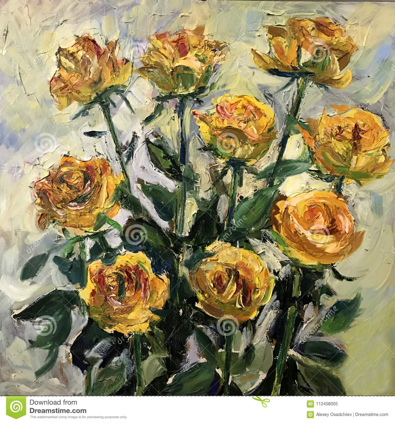 Yellow Roses Painting Stock Image Image Of Nature Acrylic 112408005